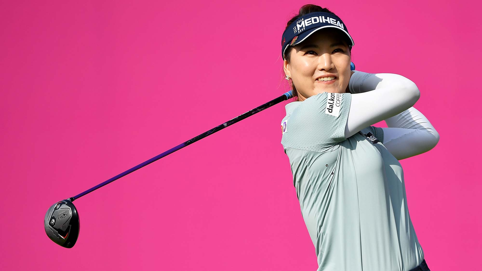 So Yeon Ryu of South Korea tees off during day two of the Evian Championship