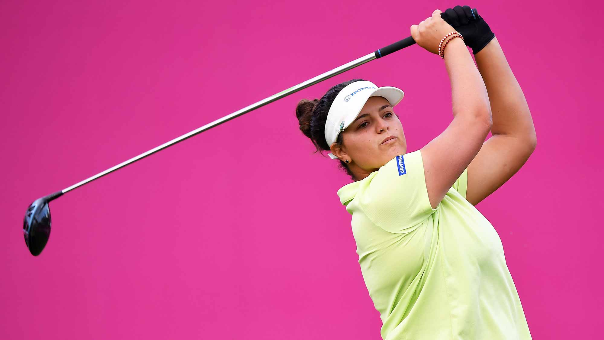 Maria Torres of Puerto Rico tees off during day two of the Evian Championship at Evian Resort Golf Club on September 14, 2018 in Evian-les-Bains, France
