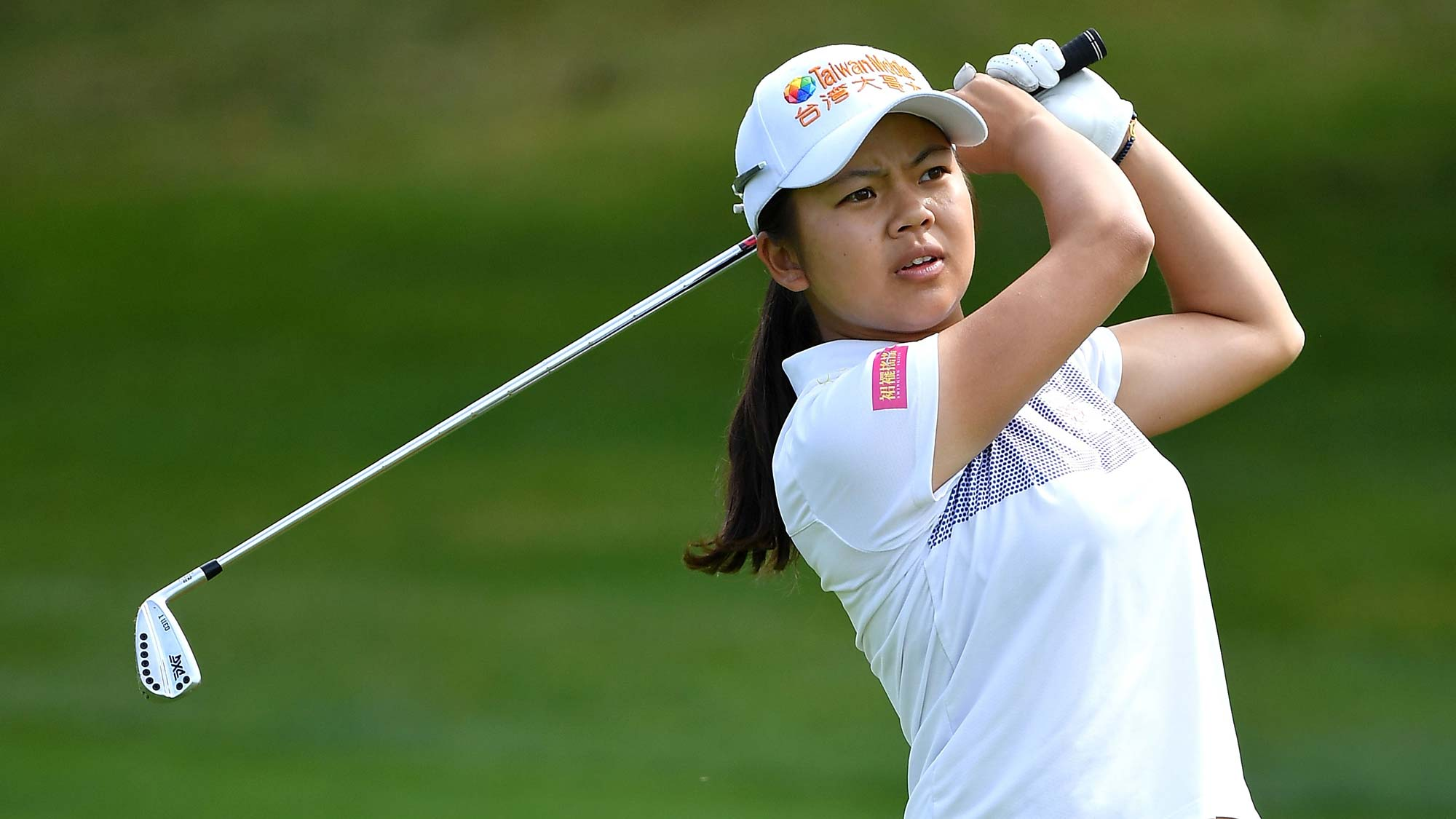 Wei-Ling Hsu of Taiwan plays a shot during day two of the Evian Championship