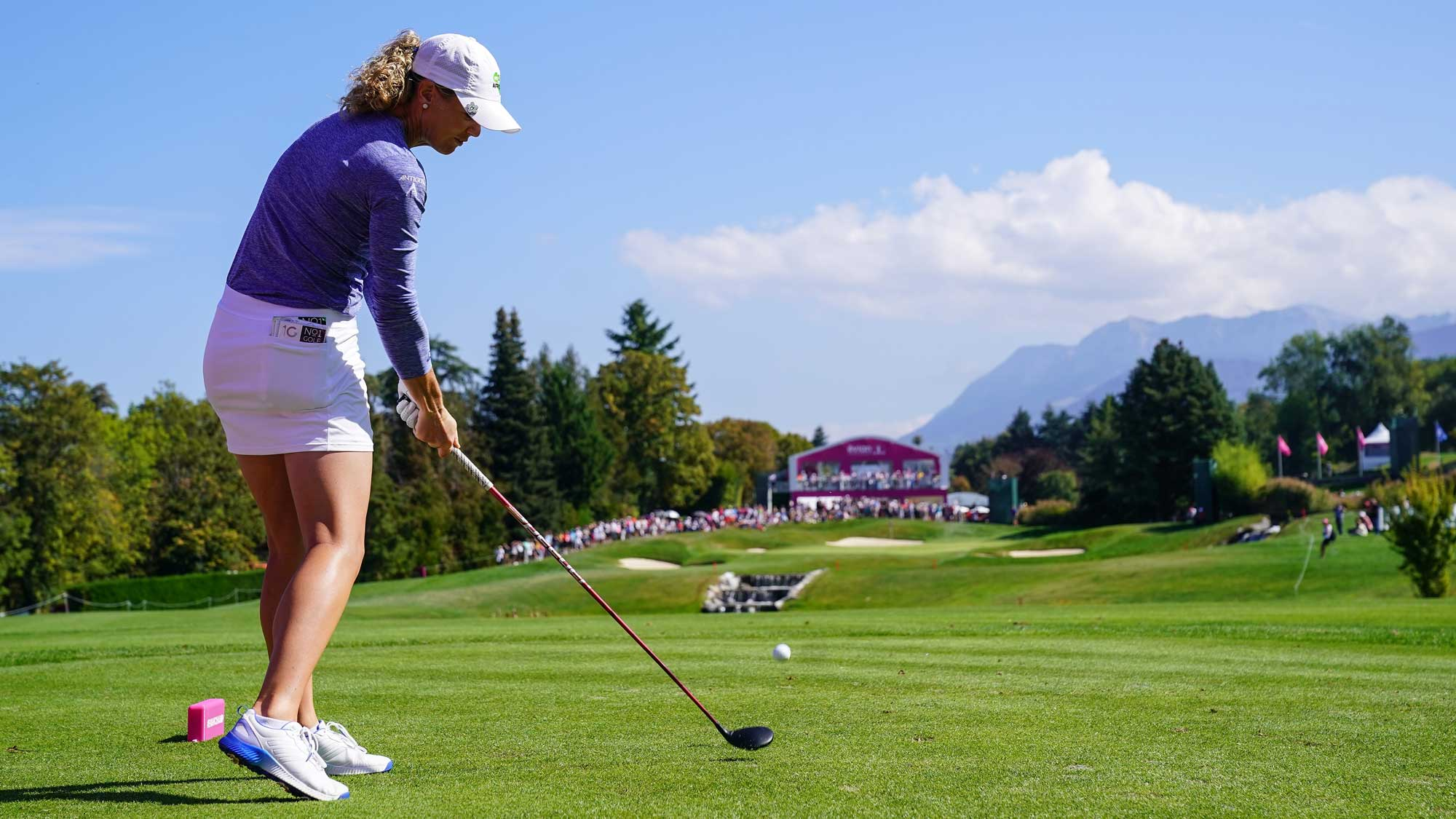 Amy Olson of USA plays a shot during the third round of The Evian Championship
