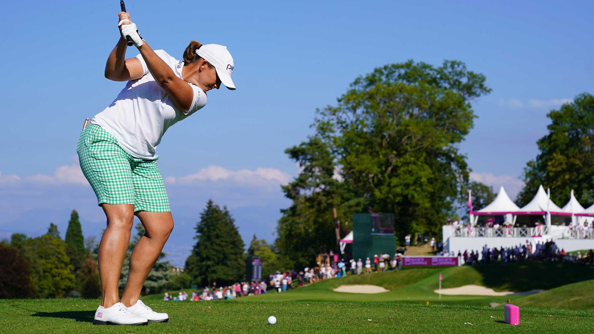 Angela Stanford of USA plays a shot during the third round of The Evian Championship