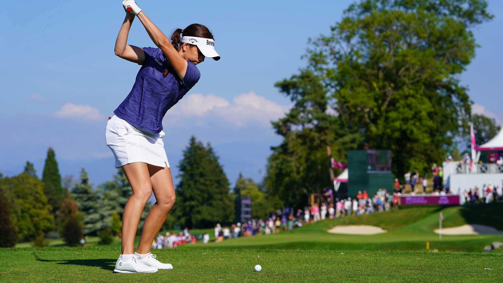 Georgia Hall of England plays a shot during the third round of The Evian Championship