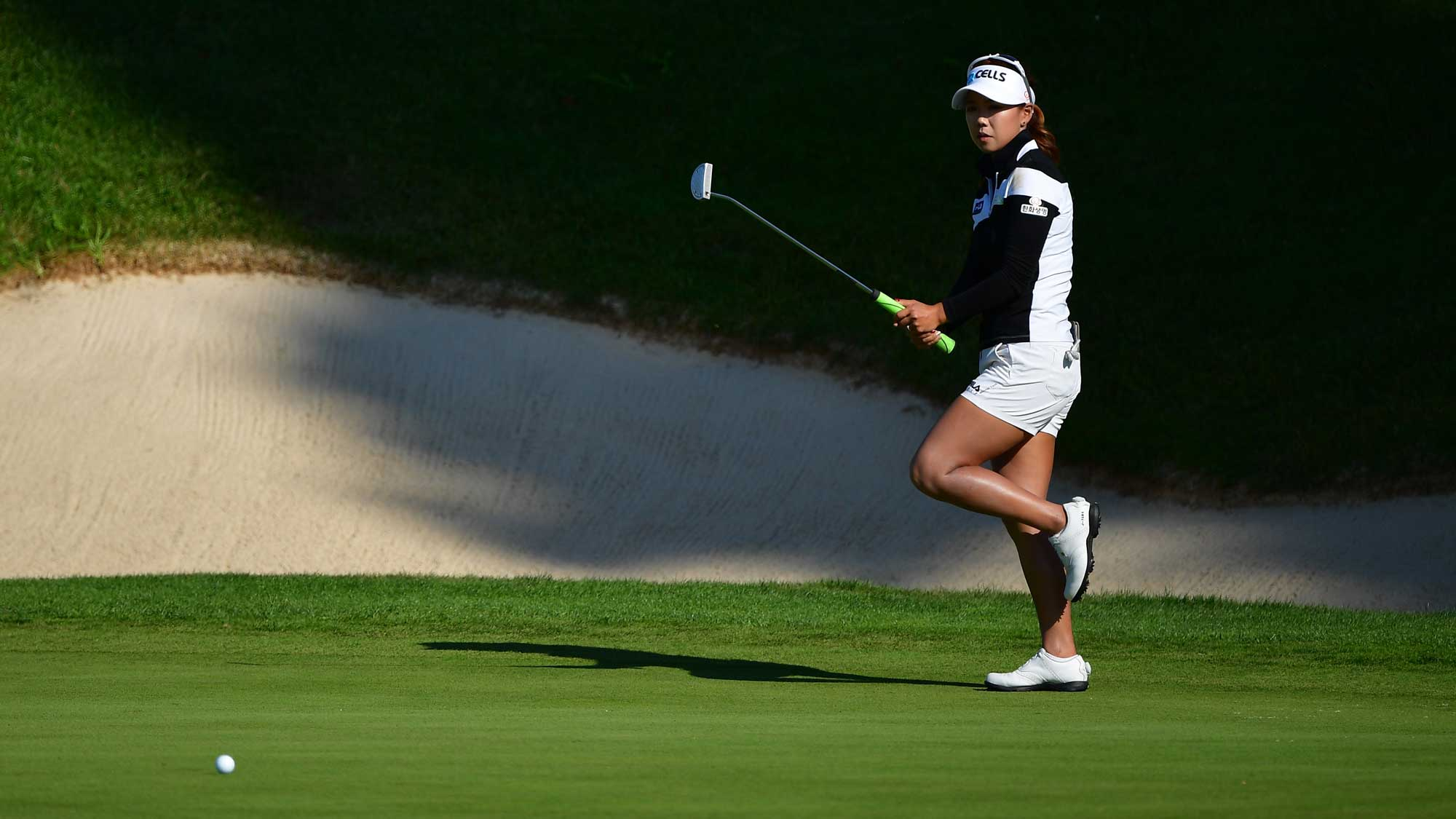 Jenny Shin of Korea reacts to a putt during the third round of The Evian Championship
