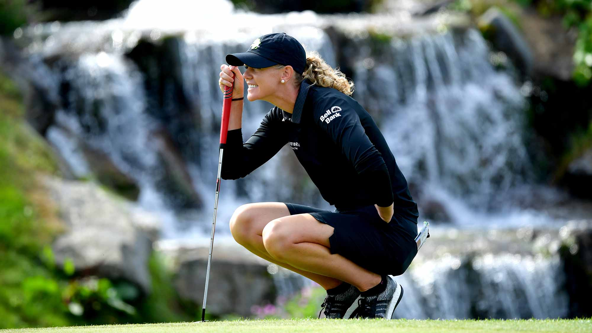 Amy Olson of the United States lines up a putt during Day Four of The Evian Championship 2018 at Evian Resort Golf Club on September 16, 2018 in Evian-les-Bains, France