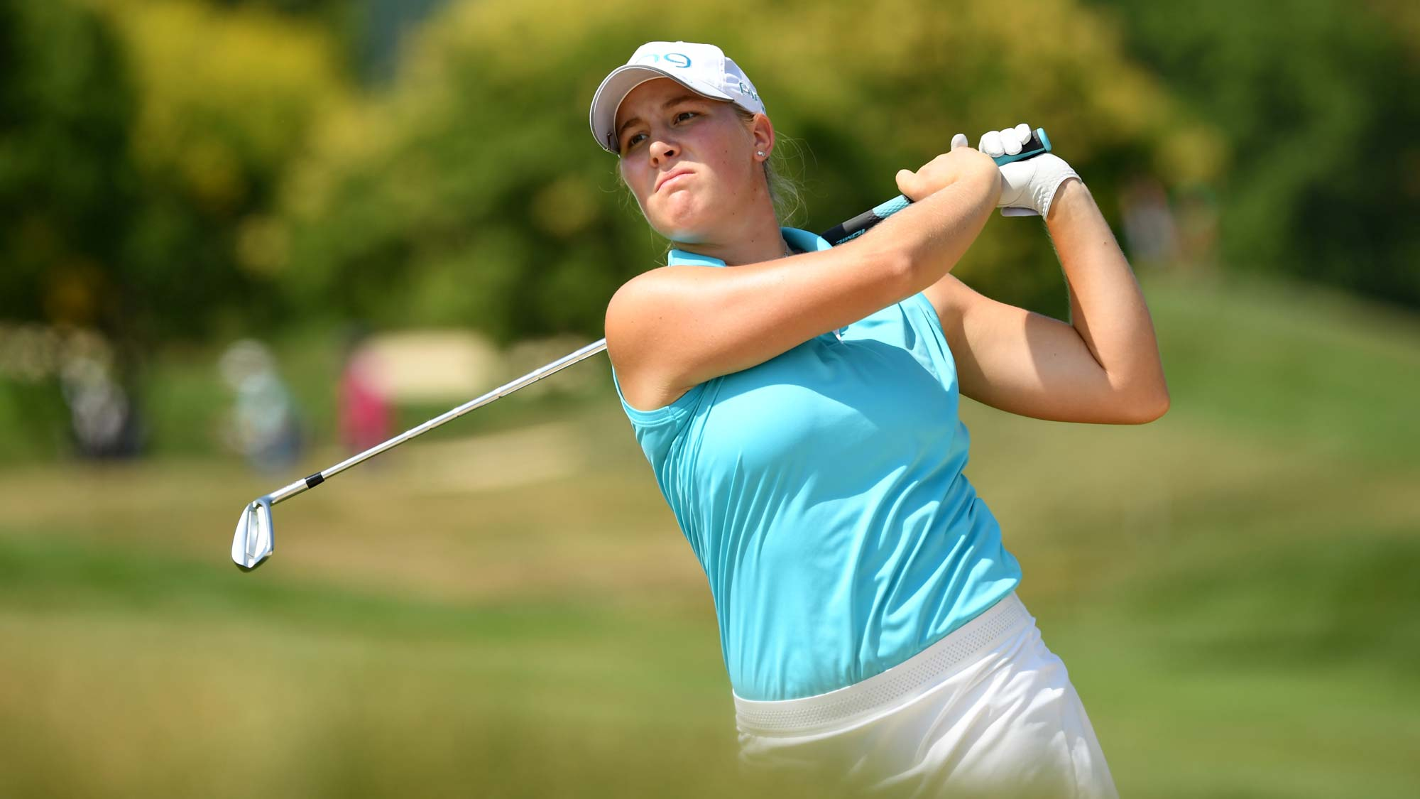 Jennifer Kupcho of The United States on the fifteenth during day 1 of the Evian Championship