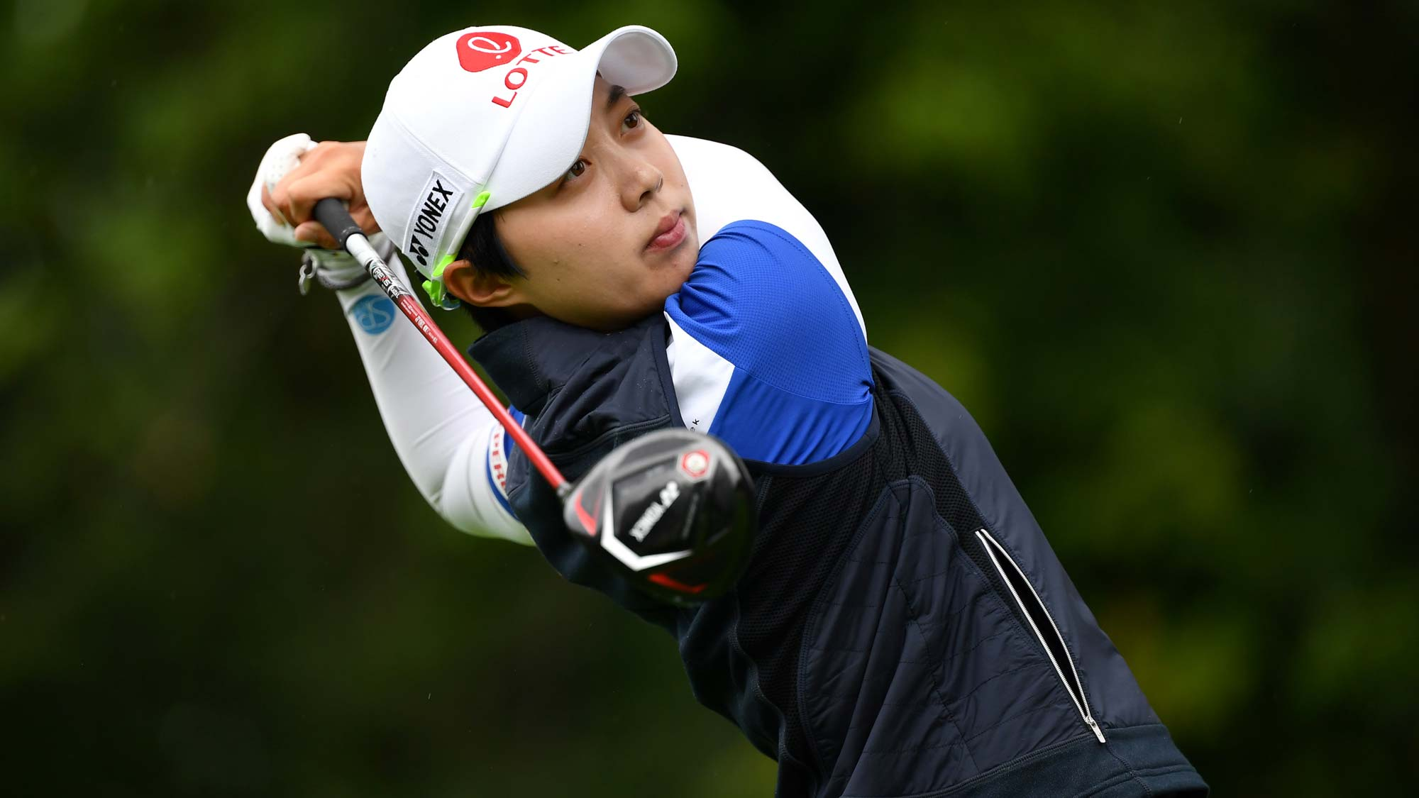 Hyo Joo Kim of South Korea in action on the 9th hole during day 4 of the Evian Championship