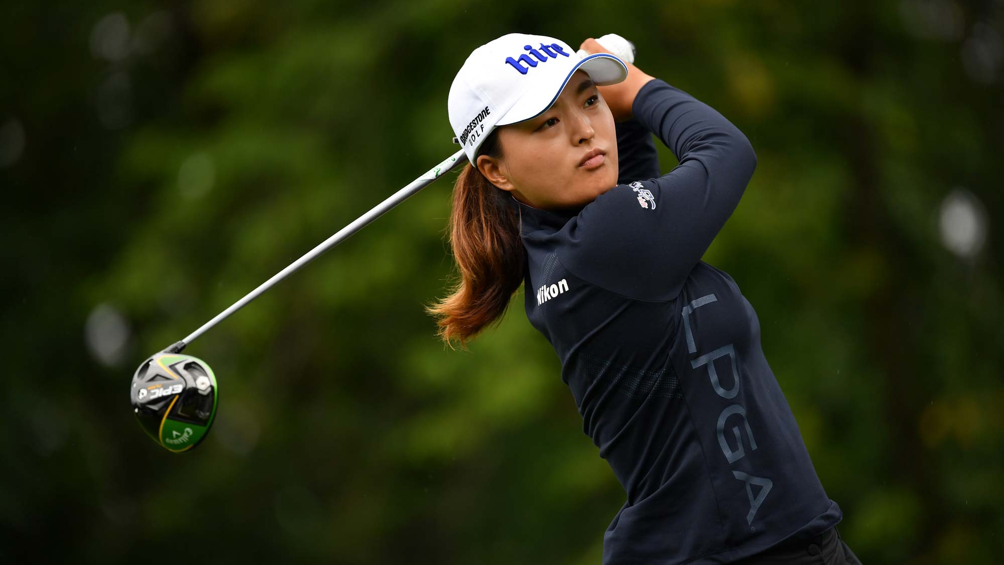 Jin Young Ko of South Korea in action on the 9th hole during day 4 of the Evian Championship