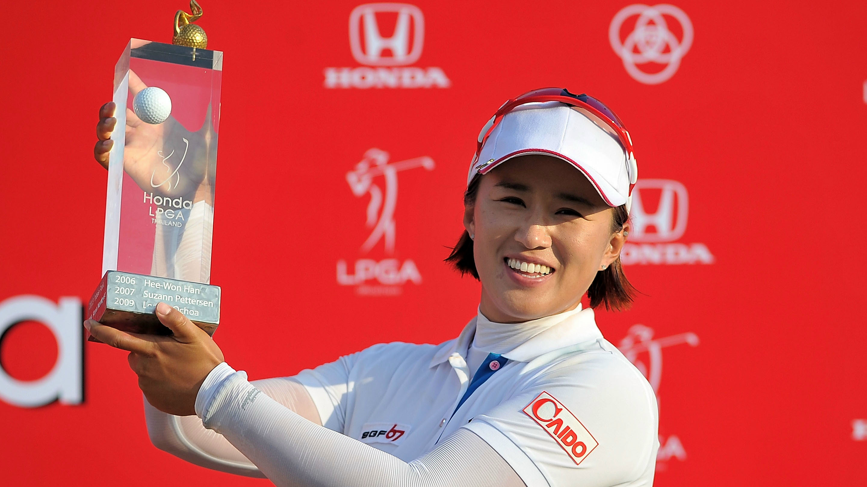 Amy Yang of South Korea celebrates during day four of the 2015 LPGA Thailand at Siam Country Club