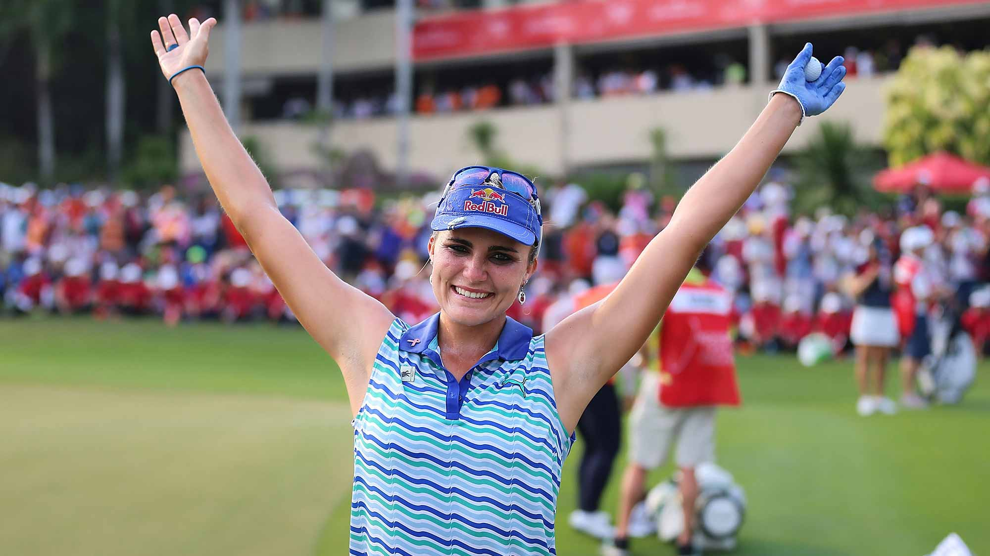 Lexi Thompson of the United States celebrates after winning the 2016 Honda LPGA Thailand at Siam Country Club