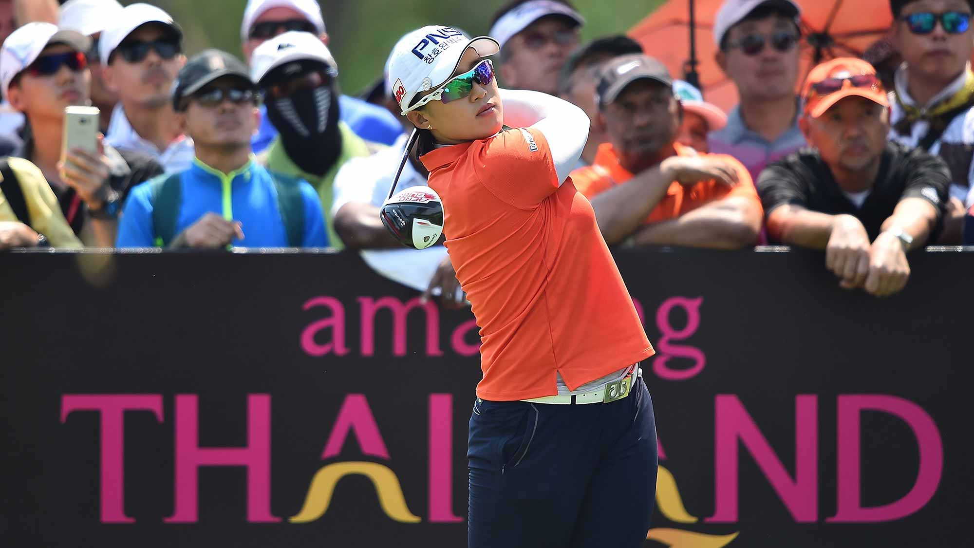 Amy Yang of South Korea plays a shot during day four of the 2016 Honda LPGA Thailand at Siam Country Club