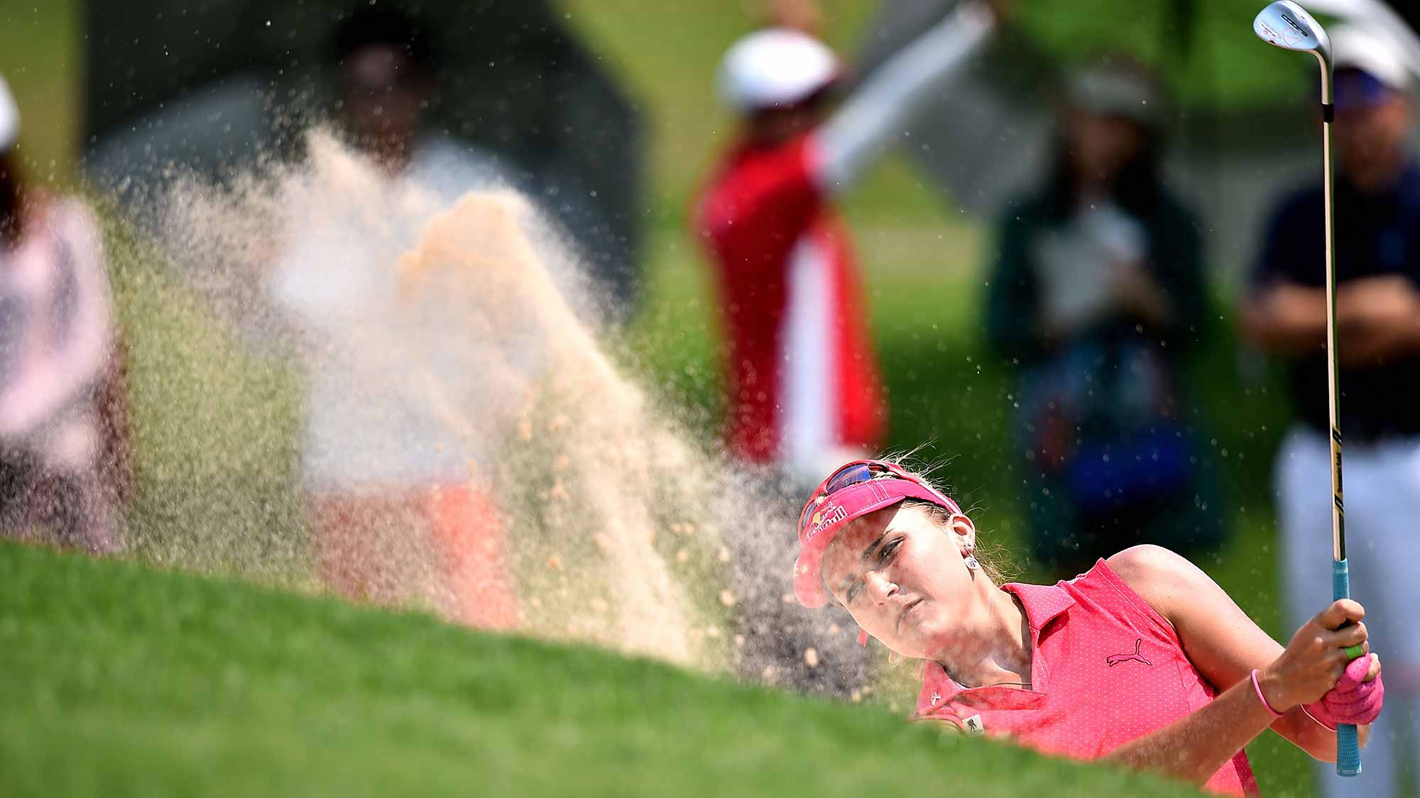 Lexi Thompson of the United States plays a shot during day three of the 2016 Honda LPGA Thailand at Siam Country Club