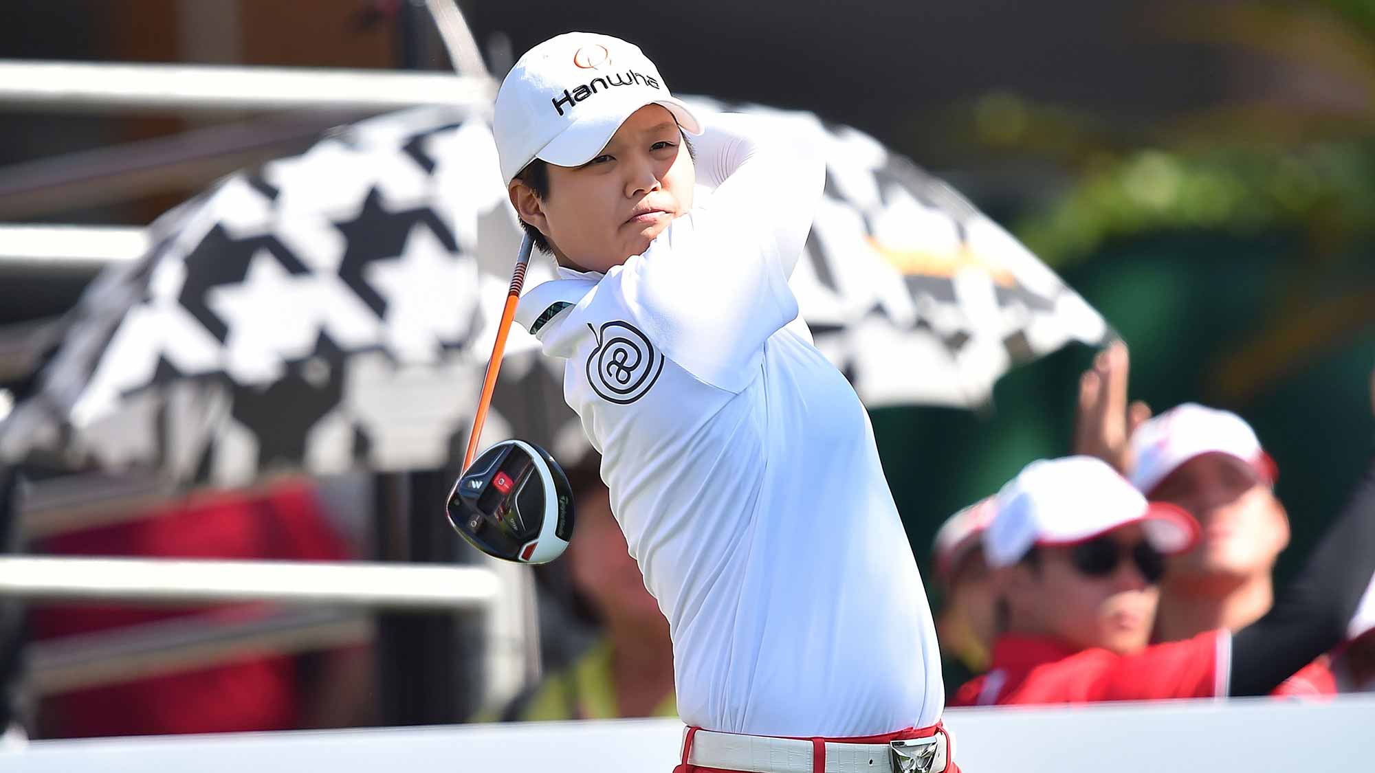 Haru Nomura of Japan plays a shot during day two of the 2016 Honda LPGA Thailand at Siam Country Club