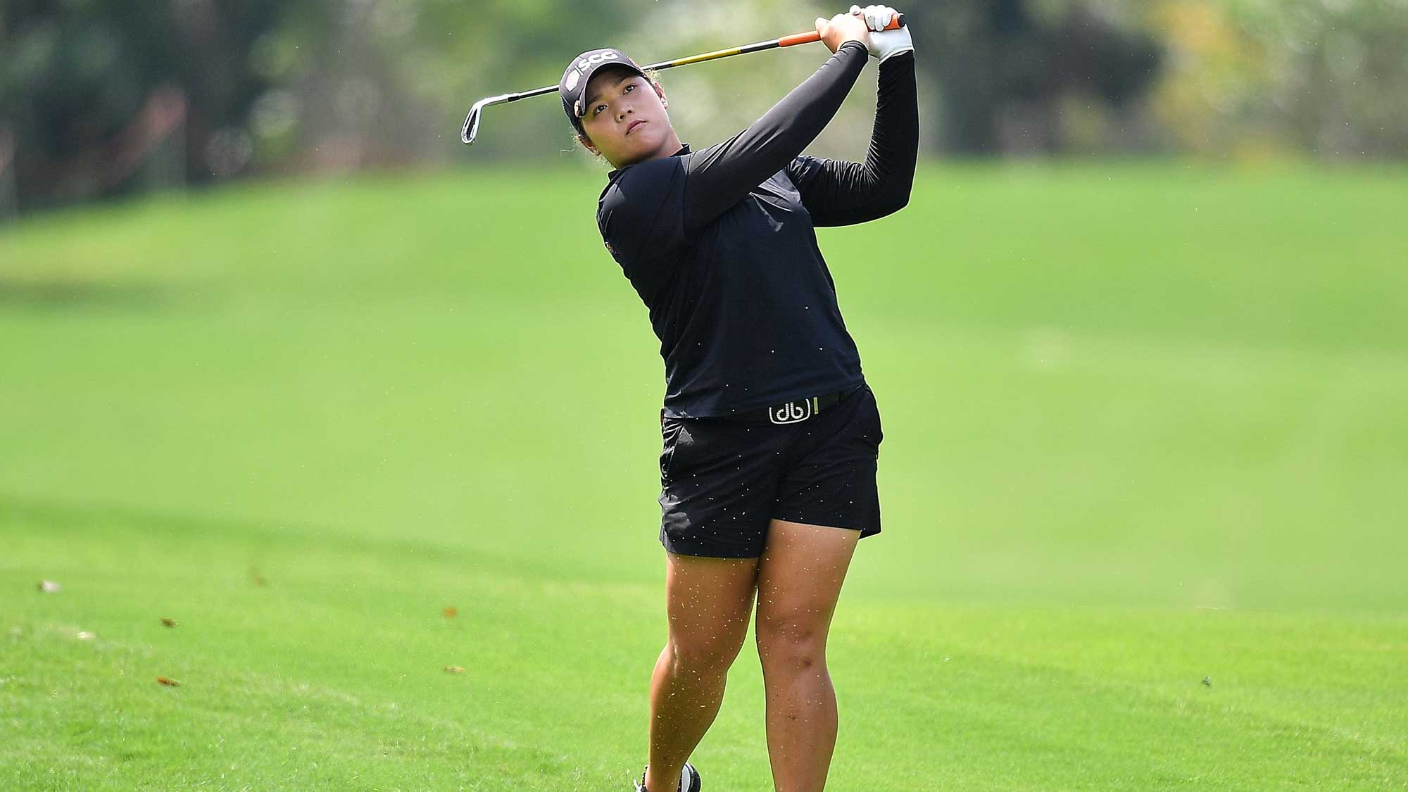 Ariya Jutanugarn of Thailand plays the shot during the Honda LPGA Thailand
