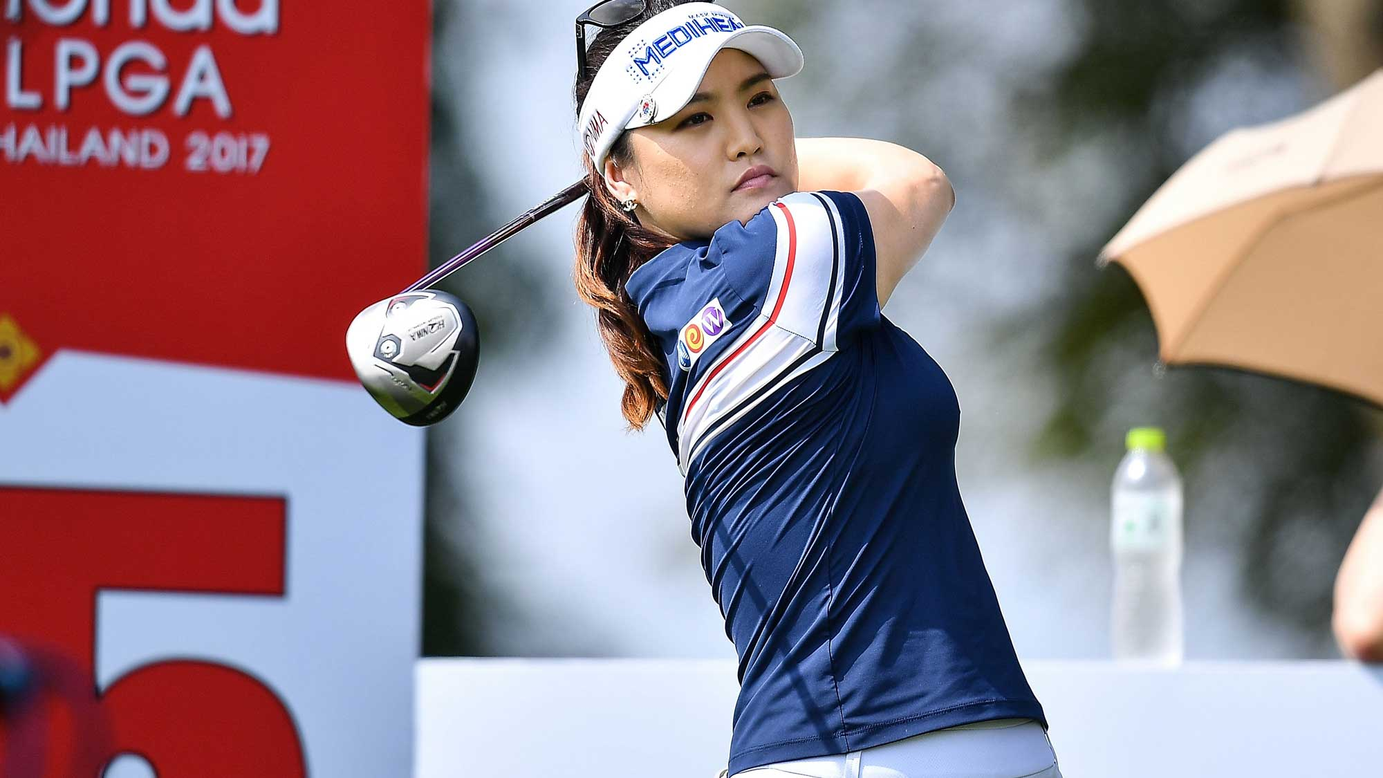 So Yeon Ryu Republic of Korea plays the shot during the Honda LPGA Thailand