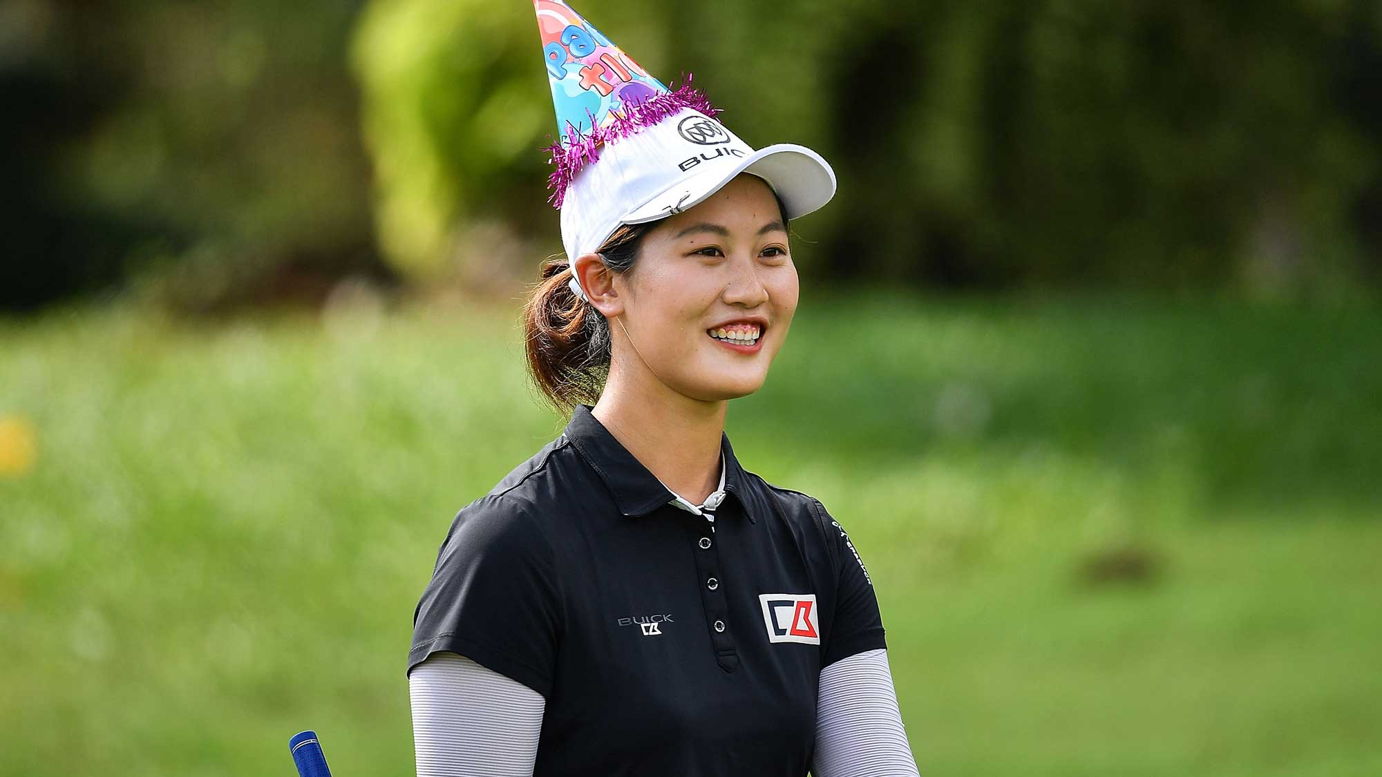 Xi Yu Lin of China wears her birthday 21st celebrate hat during the Honda LPGA Thailand