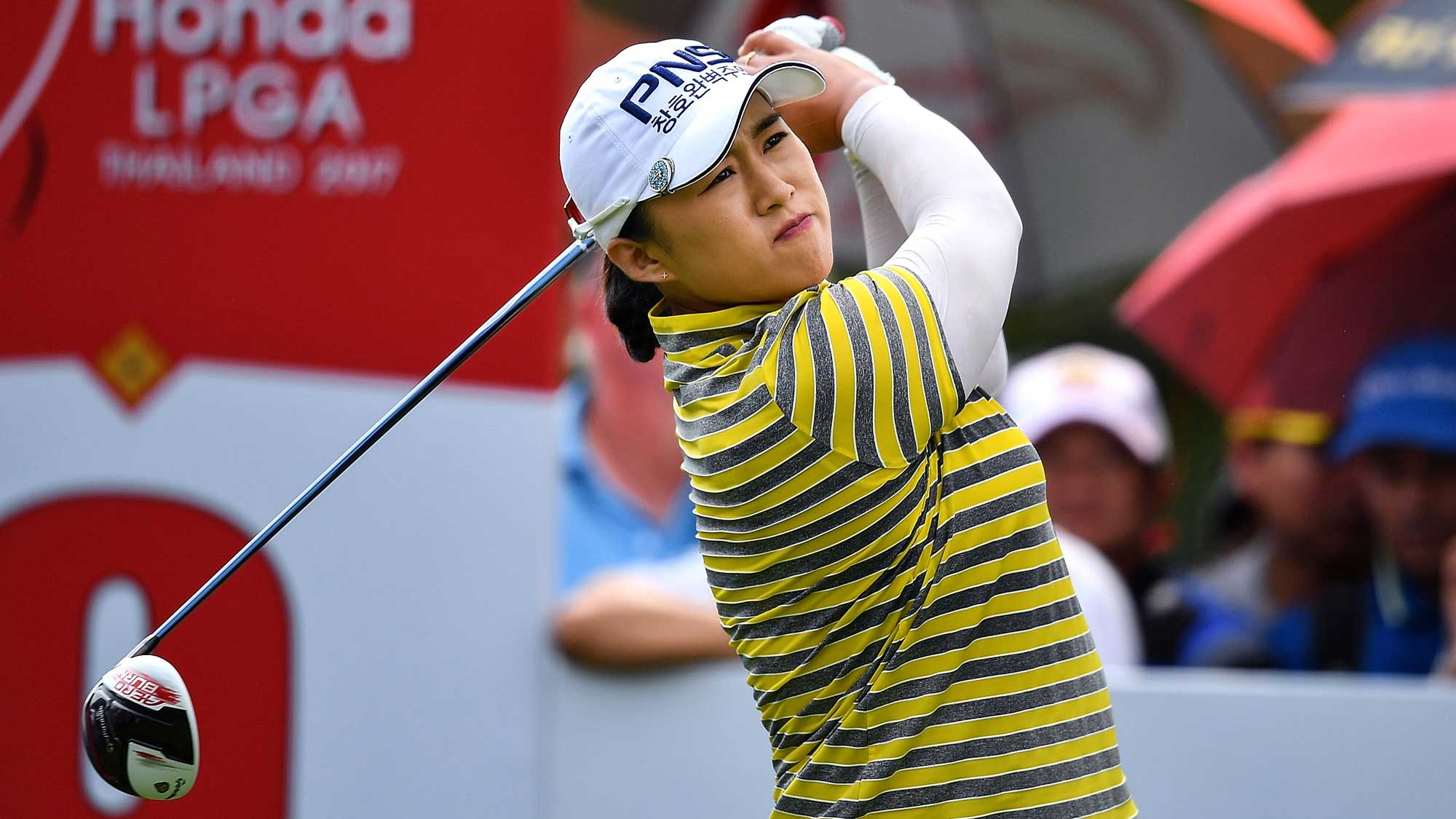 Amy Yang of Republic of Korea plays the shot during the final round of Honda LPGA Thailand