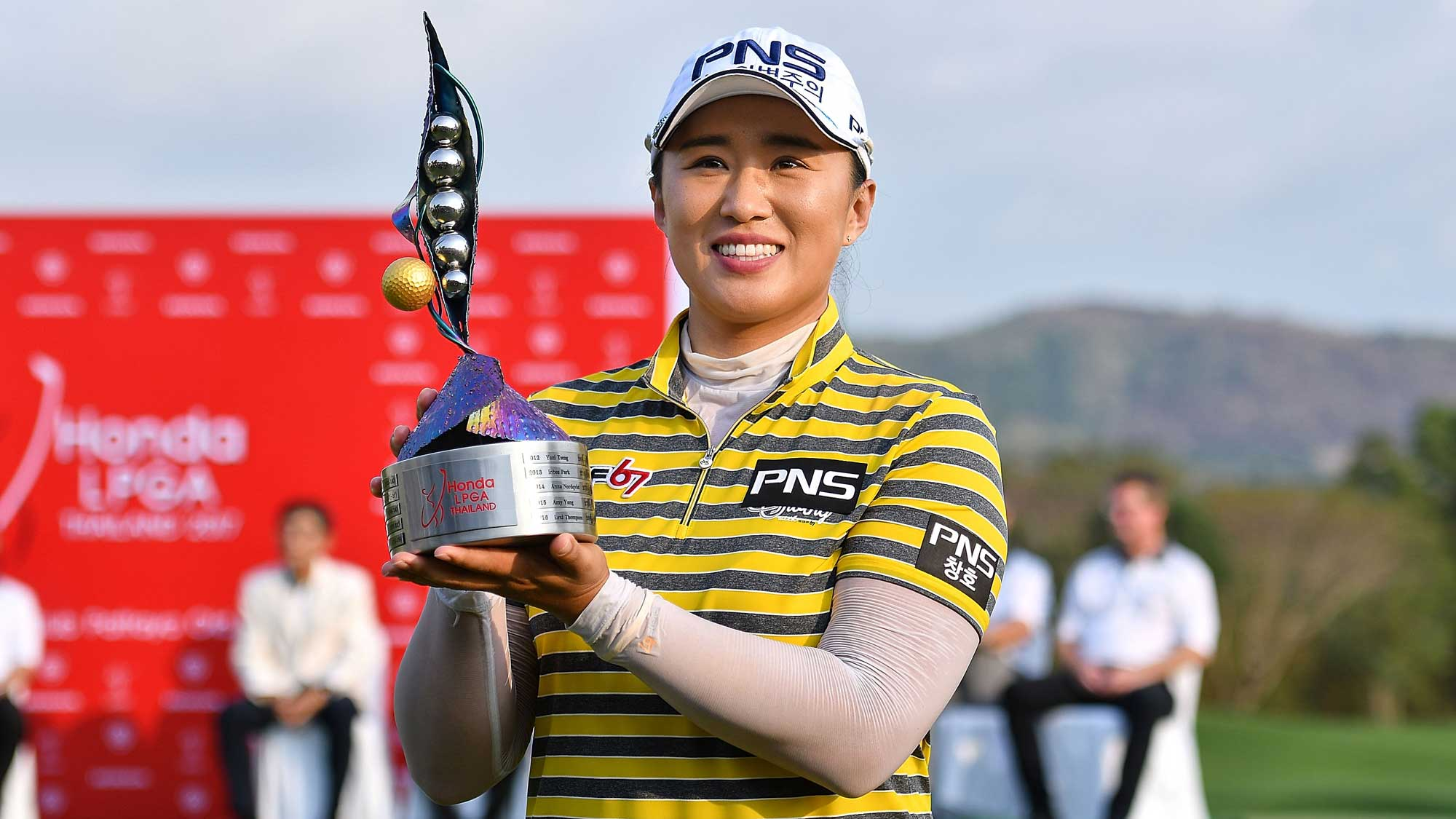 Amy Yang of Republic of Korea poses with the trophy on the 18th green after winning the Honda LPGA Thailand