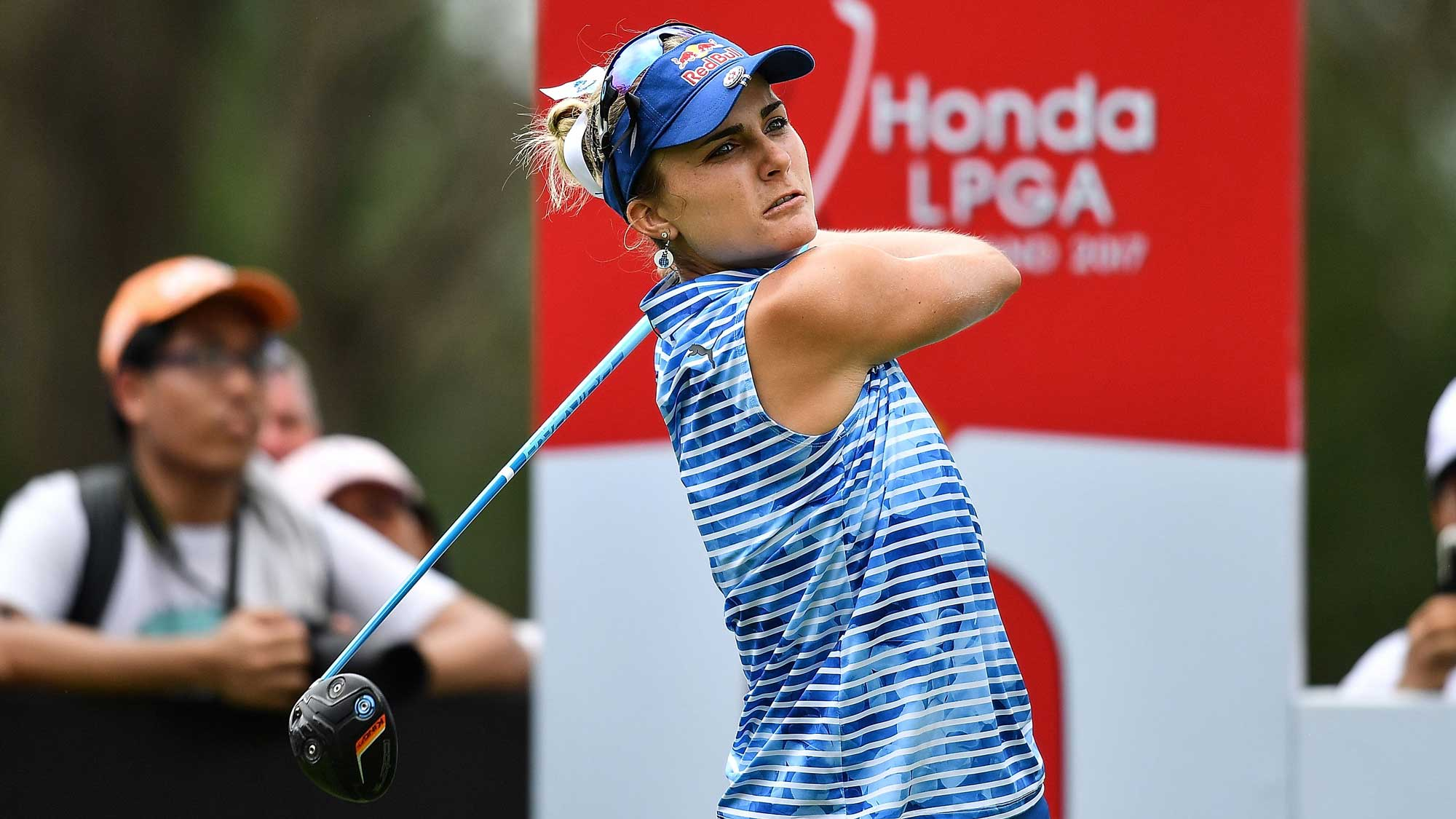 Lexi Thompson of United States tee off at 9th hole during the final round of Honda LPGA Thailand