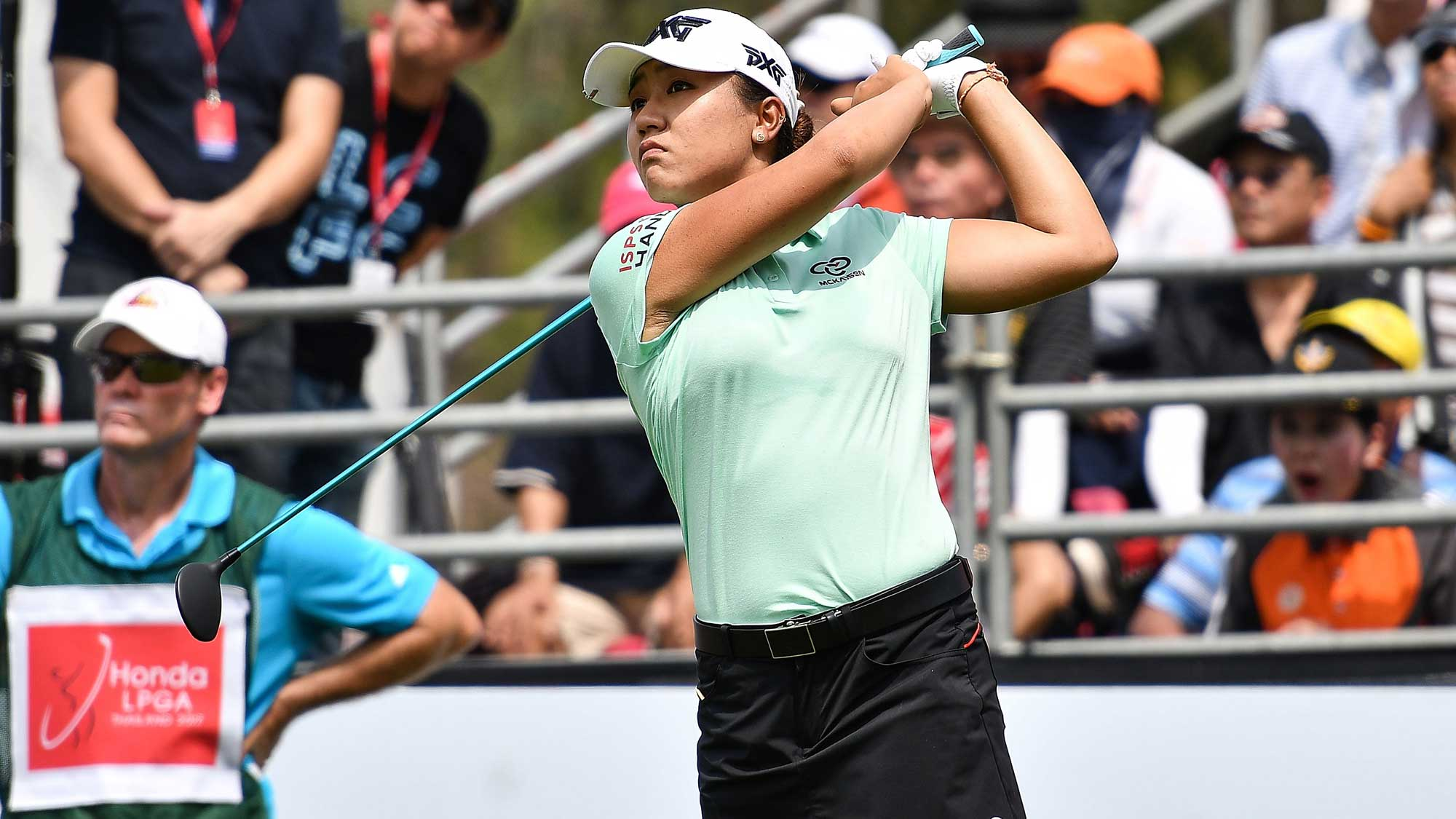 Lydia Ko of New Zealand plays the shot during the final round of Honda LPGA Thailand