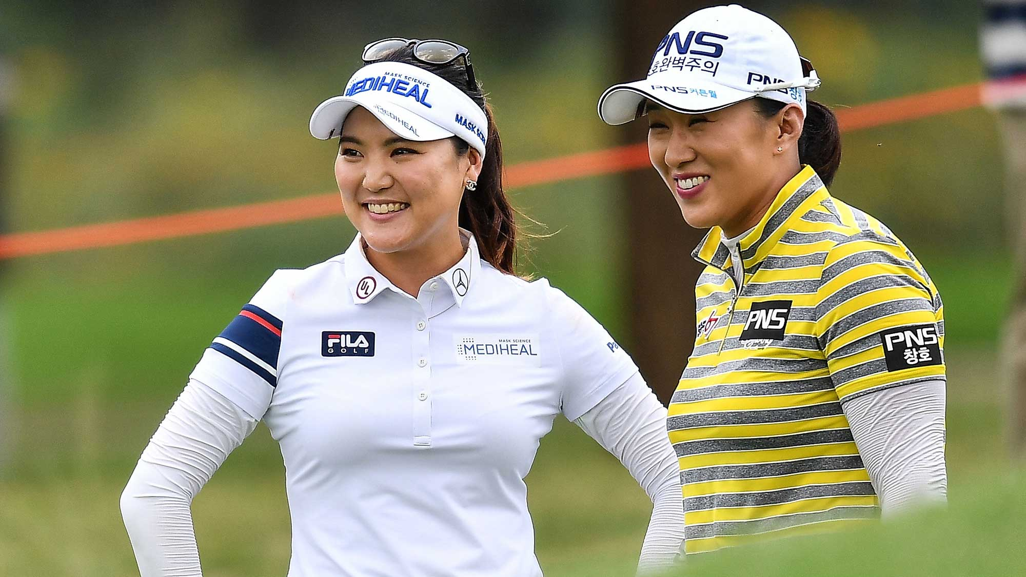 Amy Yang and So Yeon Ryu of Republic of Korea smile during the final round of Honda LPGA Thailand