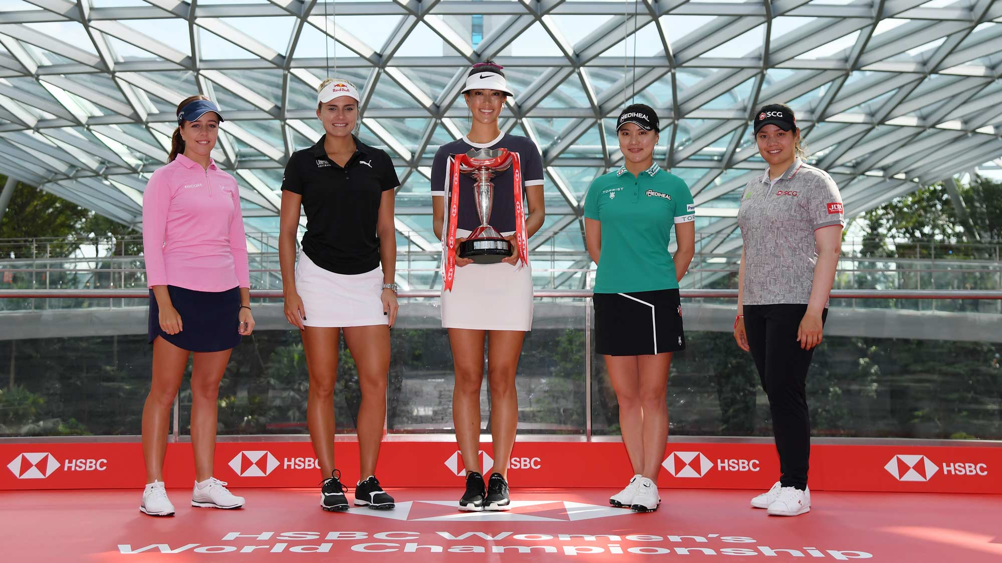 Georgia Hall of England, Lexi Thompson of the United States, Michelle Wie of United States, So Yeon Ryu of South Korea and Ariya Jutanugarn of Thailand pose at Jewel Changi Airport prior to the HSBC Women's World Champions on February 25, 2019 in Singapore.