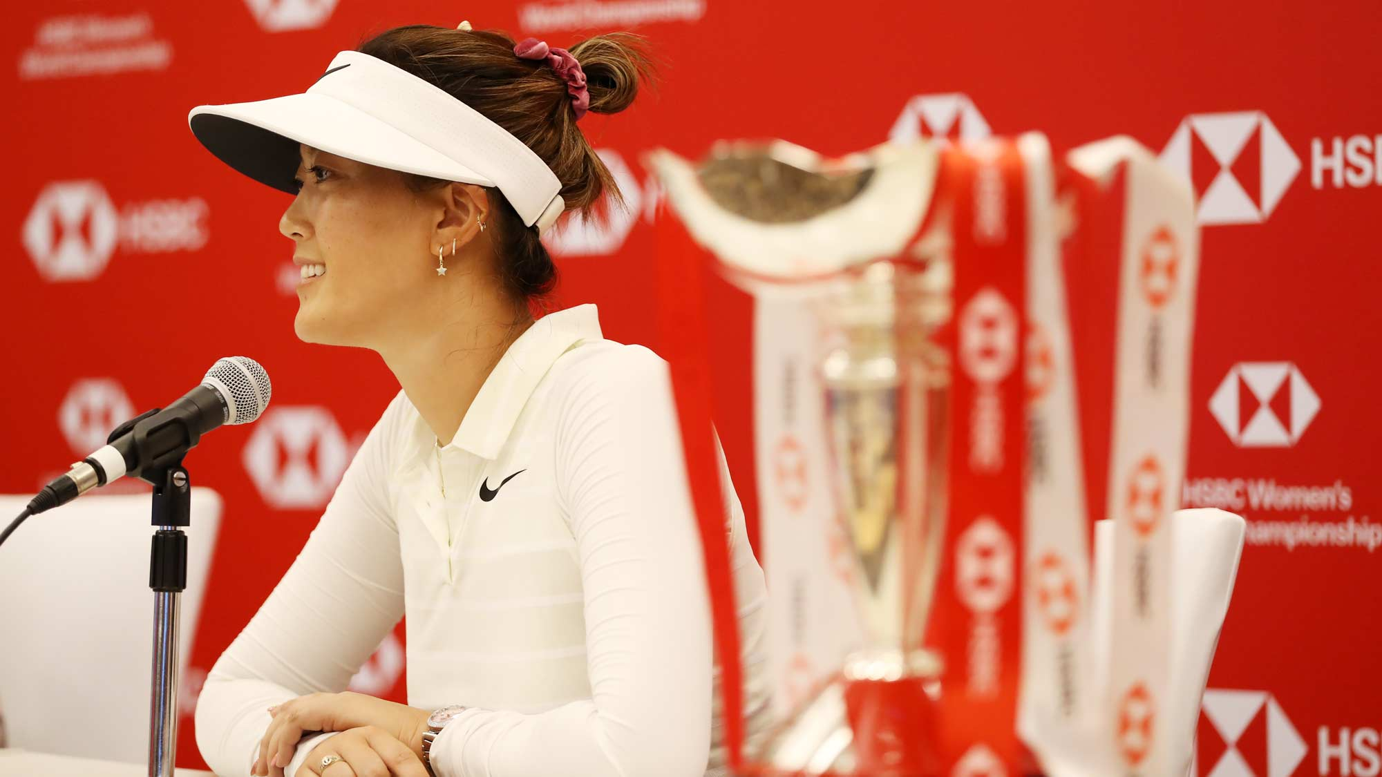 Michelle Wie of United States speaks to the media during a press conference prior to the HSBC Women's World Championship at Sentosa Golf Club on February 26, 2019 in Singapore.