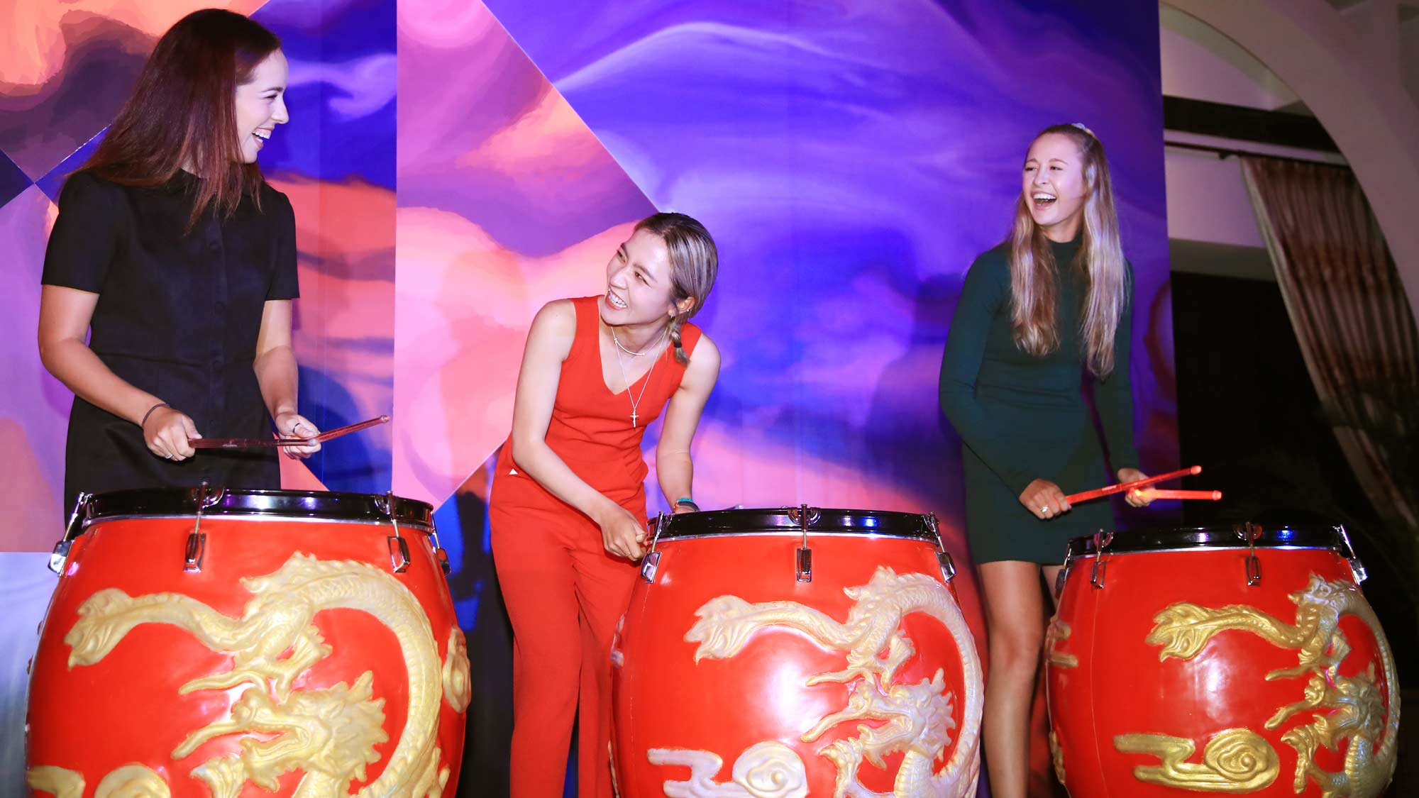 Georgia Hall of England, Lydia Ko of New Zealand and Nelly Korda of the United States attend a welcome dinner prior to the HSBC Women's World Championship at Sentosa Golf Club on February 26, 2019 in Singapore.