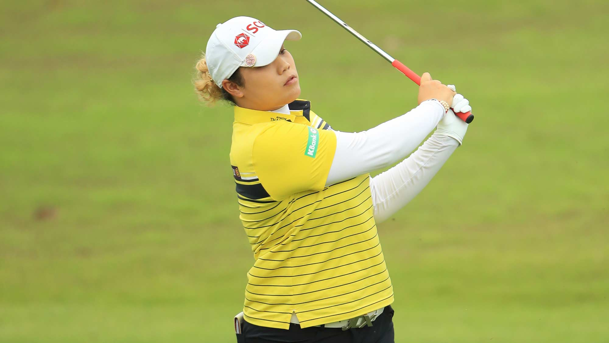 Ariya Jutanugarn of Thailand plays her second shot on the first hole during the first round of the HSBC Women's World Championship at Sentosa Golf Club on February 28, 2019 in Singapore.