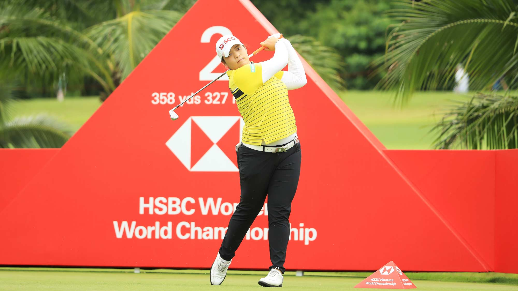 Ariya Jutanugarn of Thailand plays her shot from the second tee during the first round of the HSBC Women's World Championship at Sentosa Golf Club on February 28, 2019 in Singapore.