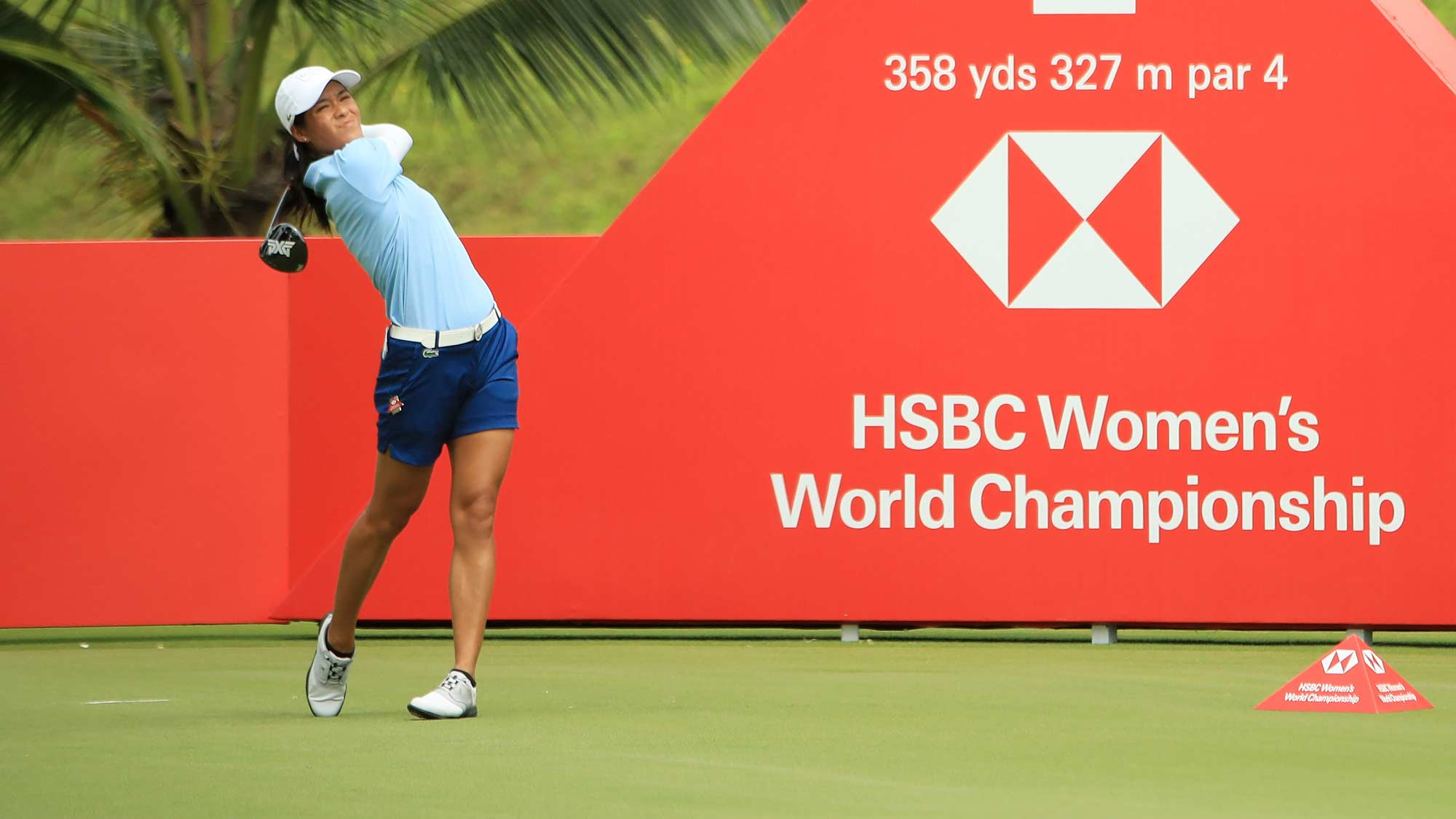 Celine Boutier of France plays her shot from the second tee during the first round of the HSBC Women's World Championship at Sentosa Golf Club on February 28, 2019 in Singapore.