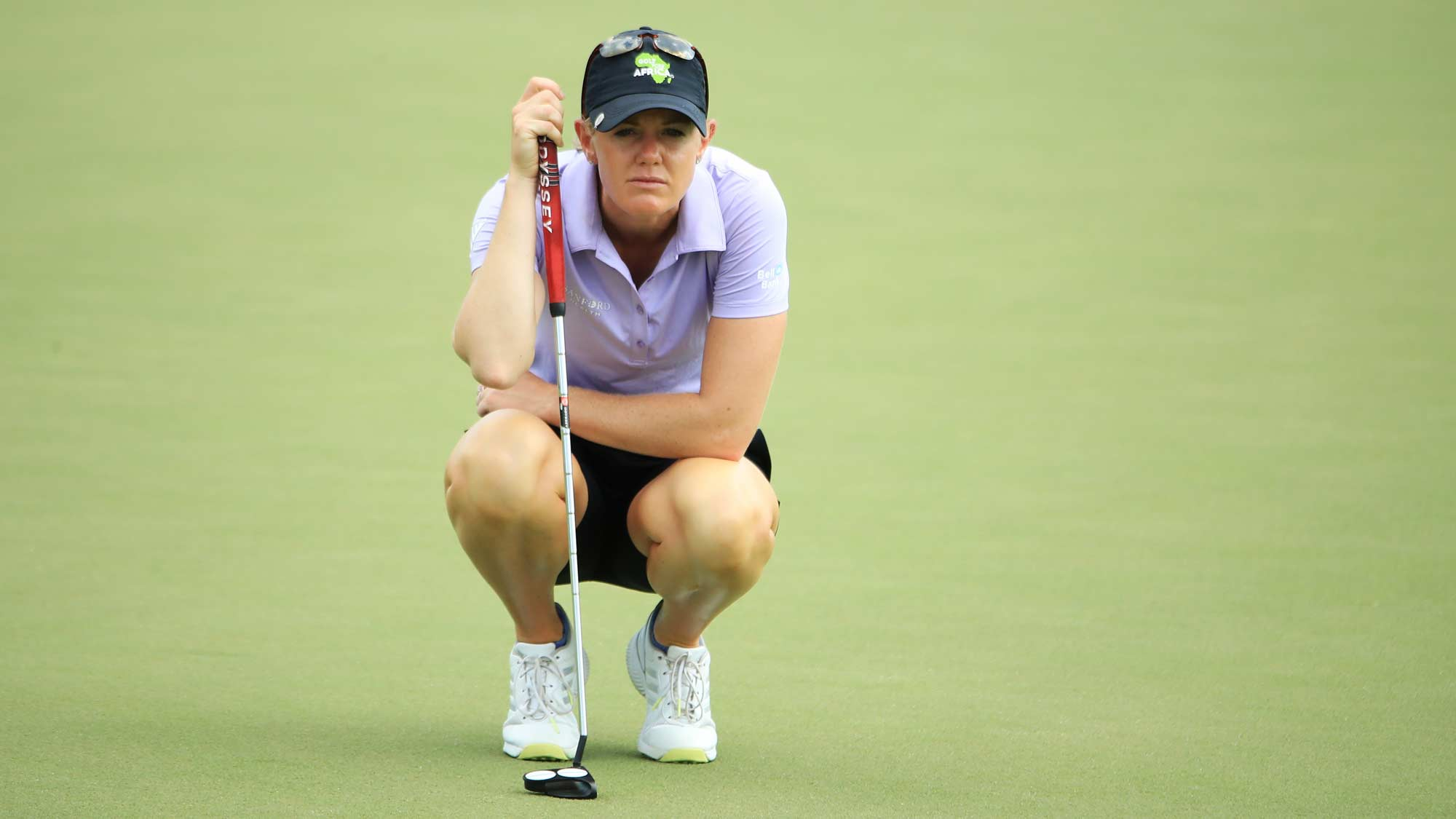 Amy Olson of the United States lines up a putt on the 18th green during the second round of the HSBC Women's World Championship at Sentosa Golf Club on March 01, 2019 in Singapore.