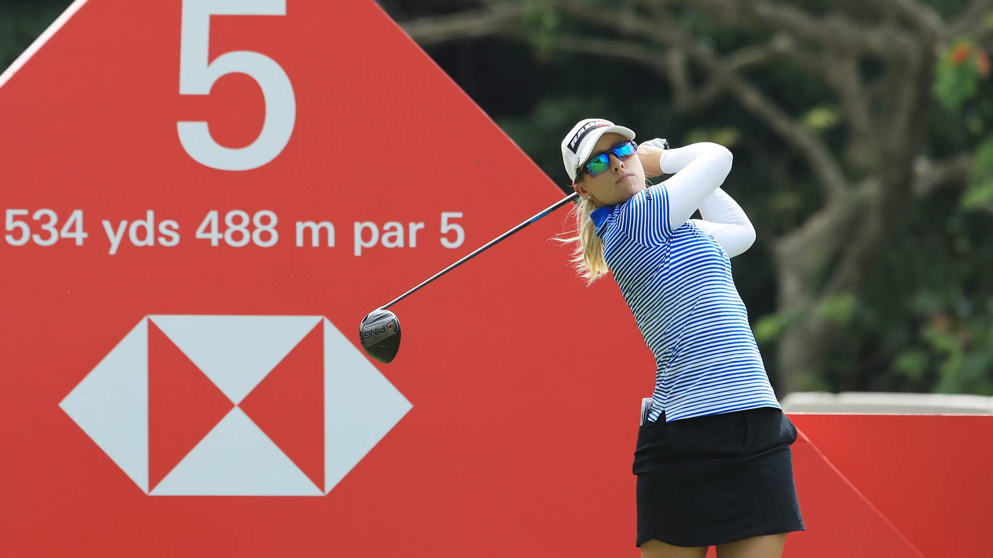 Jodi Ewart Shadoff of England plays her shot from the fifth tee during the second round of the HSBC Women's World Championship at Sentosa Golf Club on March 01, 2019 in Singapore.