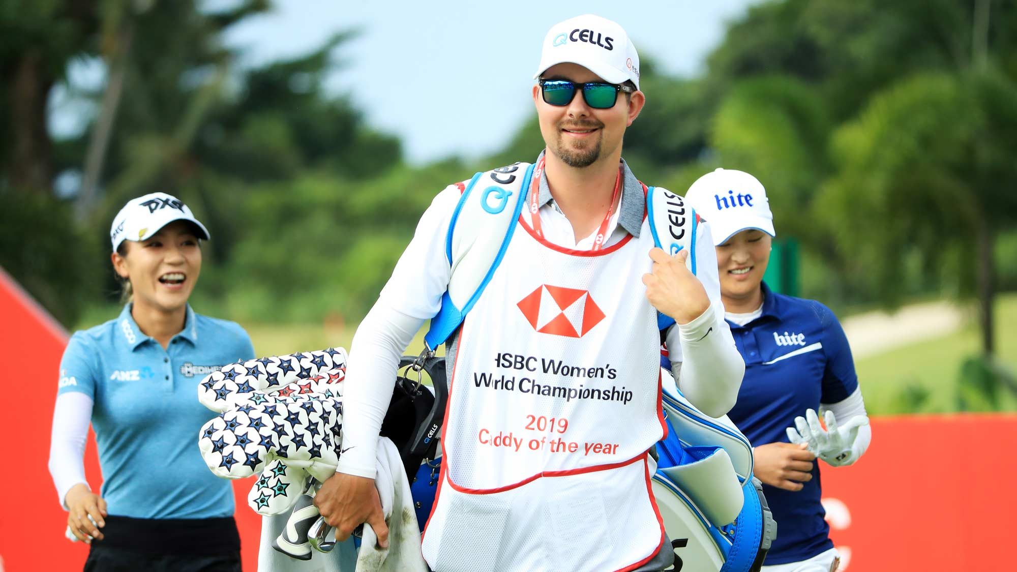 2019 Caddy of the Year Martin Bozek, caddie for Eun-Hee Ji of South Korea, walks from first tee during the third round of the HSBC Women's World Championship at Sentosa Golf Club on March 02, 2019 in Singapore.