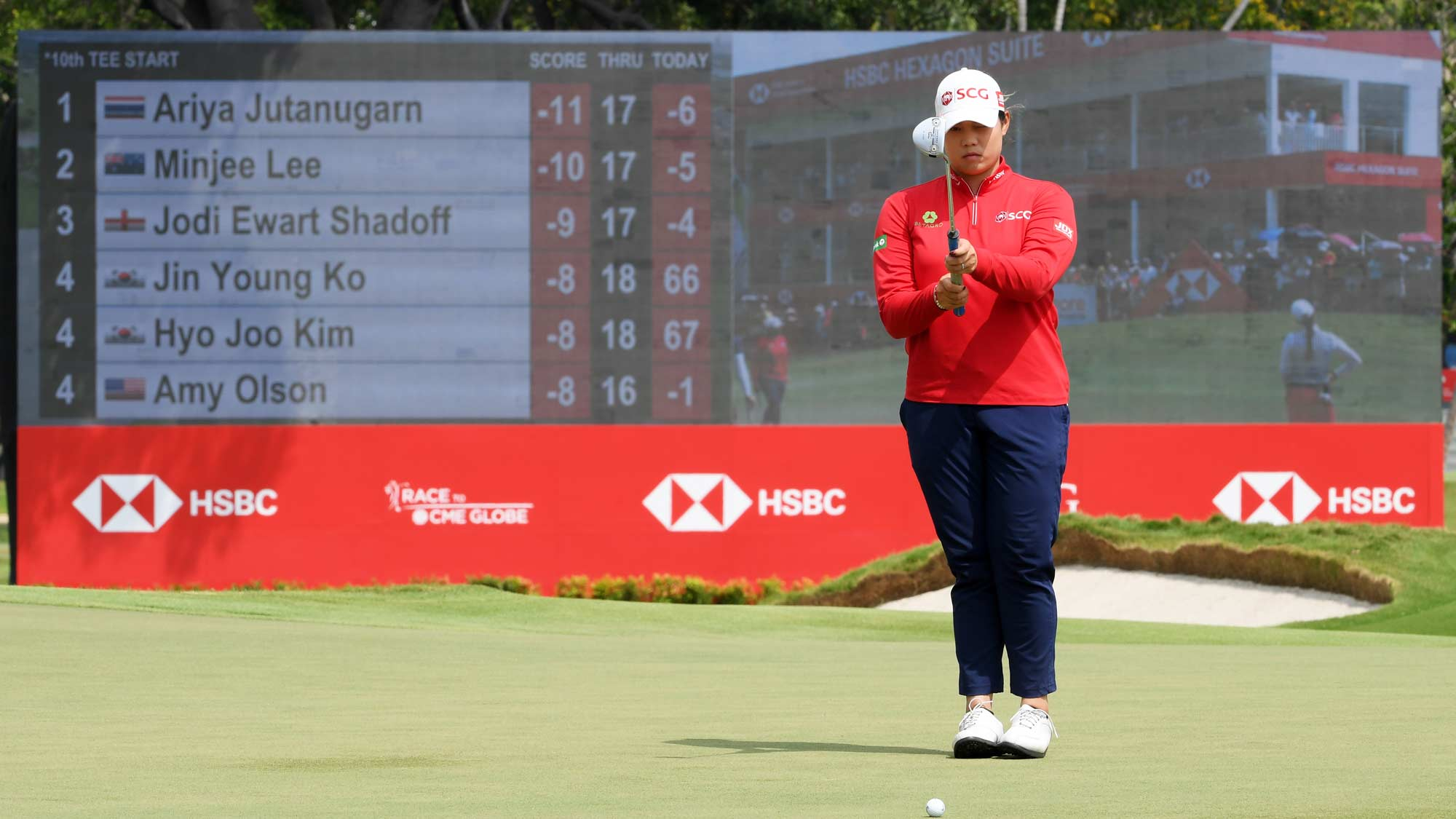 Ariya Jutanugarn of Thailand lines up a putt on the 18th green during the third round of the HSBC Women's World Championship at Sentosa Golf Club on March 02, 2019 in Singapore