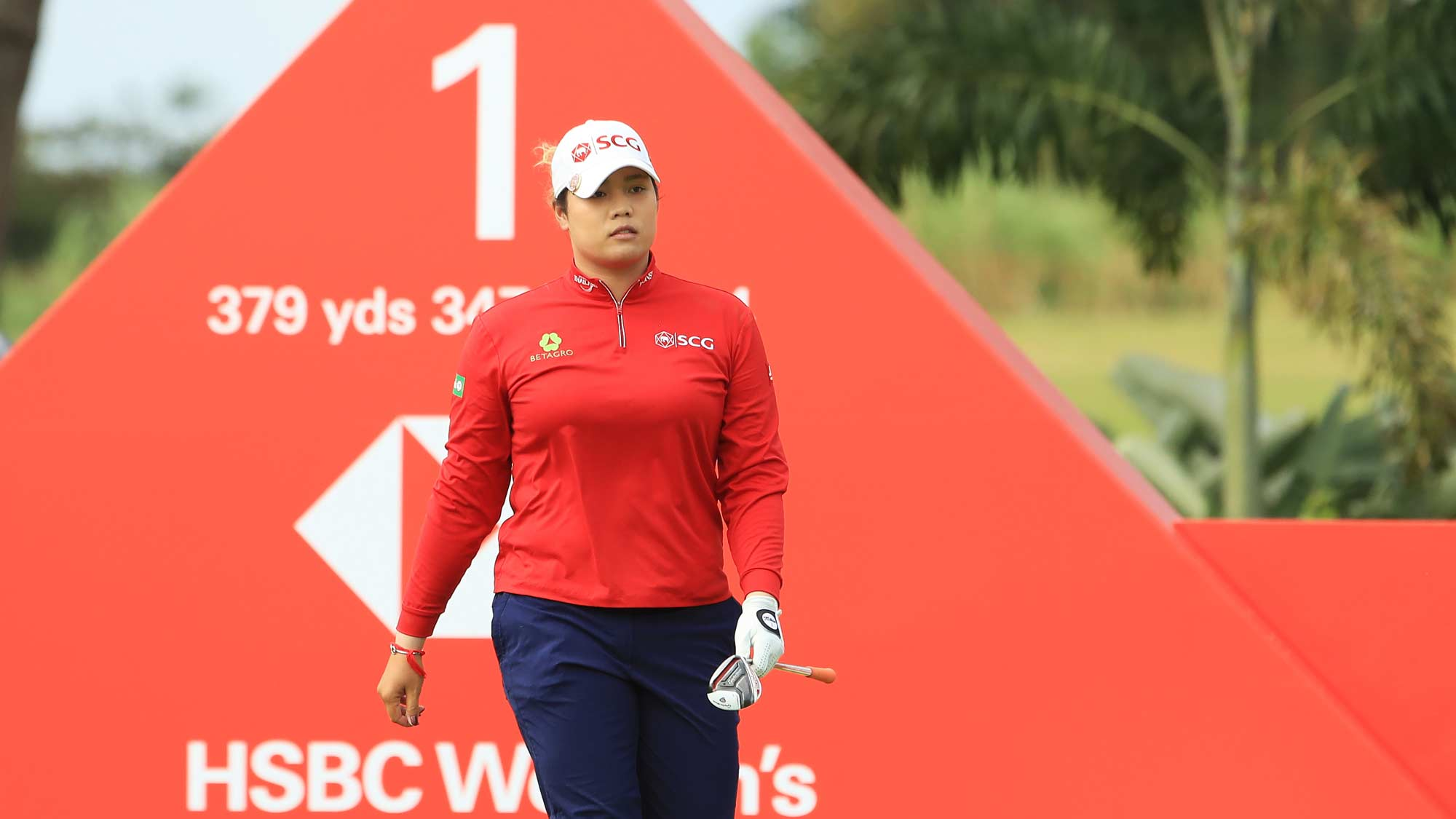 Ariya Jutanugarn of Thailand walks from the first tee during the third round of the HSBC Women's World Championship at Sentosa Golf Club on March 02, 2019 in Singapore.