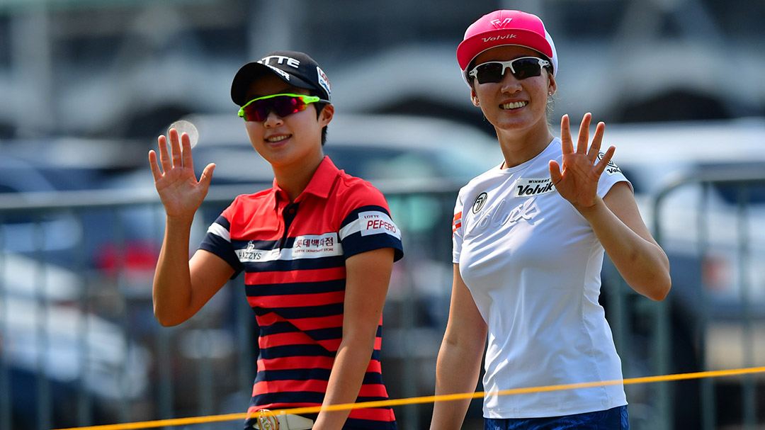 Hyo Joo Kim (left) and Chella Choi during a practice round before the 2017 Indy Women In Tech presented by Guggenheim