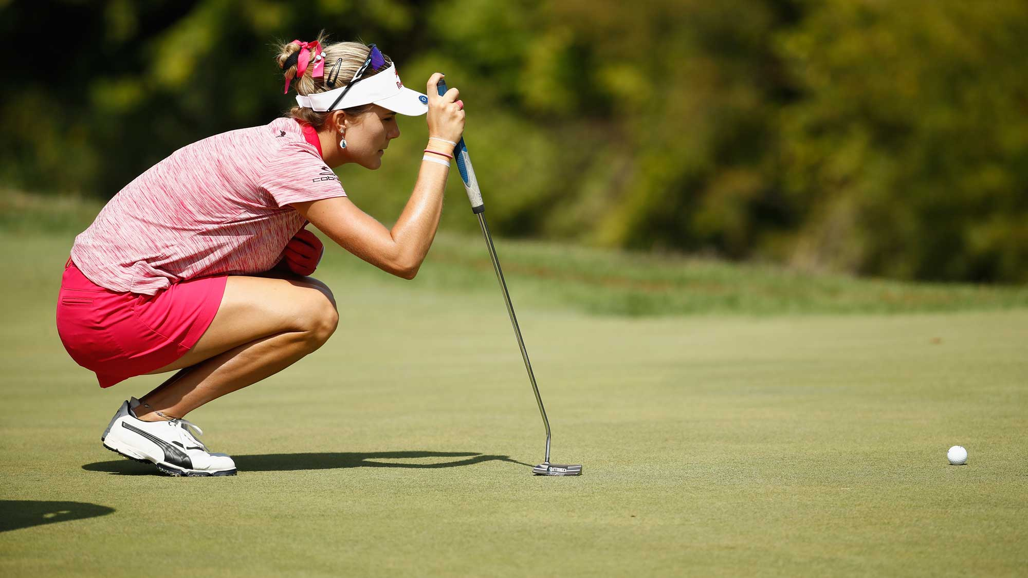 Lexi Thompson lines up her putt on the 6th hole during the second round of the Indy Women In Tech Championship-Presented By Guggenheim