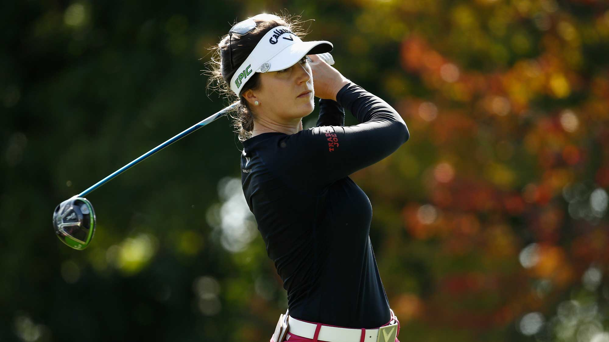 Sandra Gal of Germany hits her tee shot on the 9th hole during the second round of the Indy Women In Tech Championship-Presented By Guggenheim