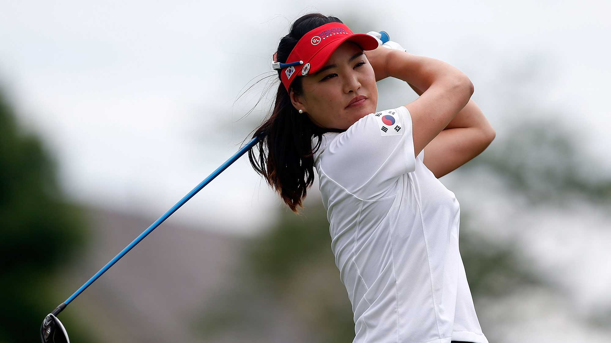 So Yeon Ryu of Korea hits her tee shot on the fourth hole during the singles matches of the 2016 UL International Crown