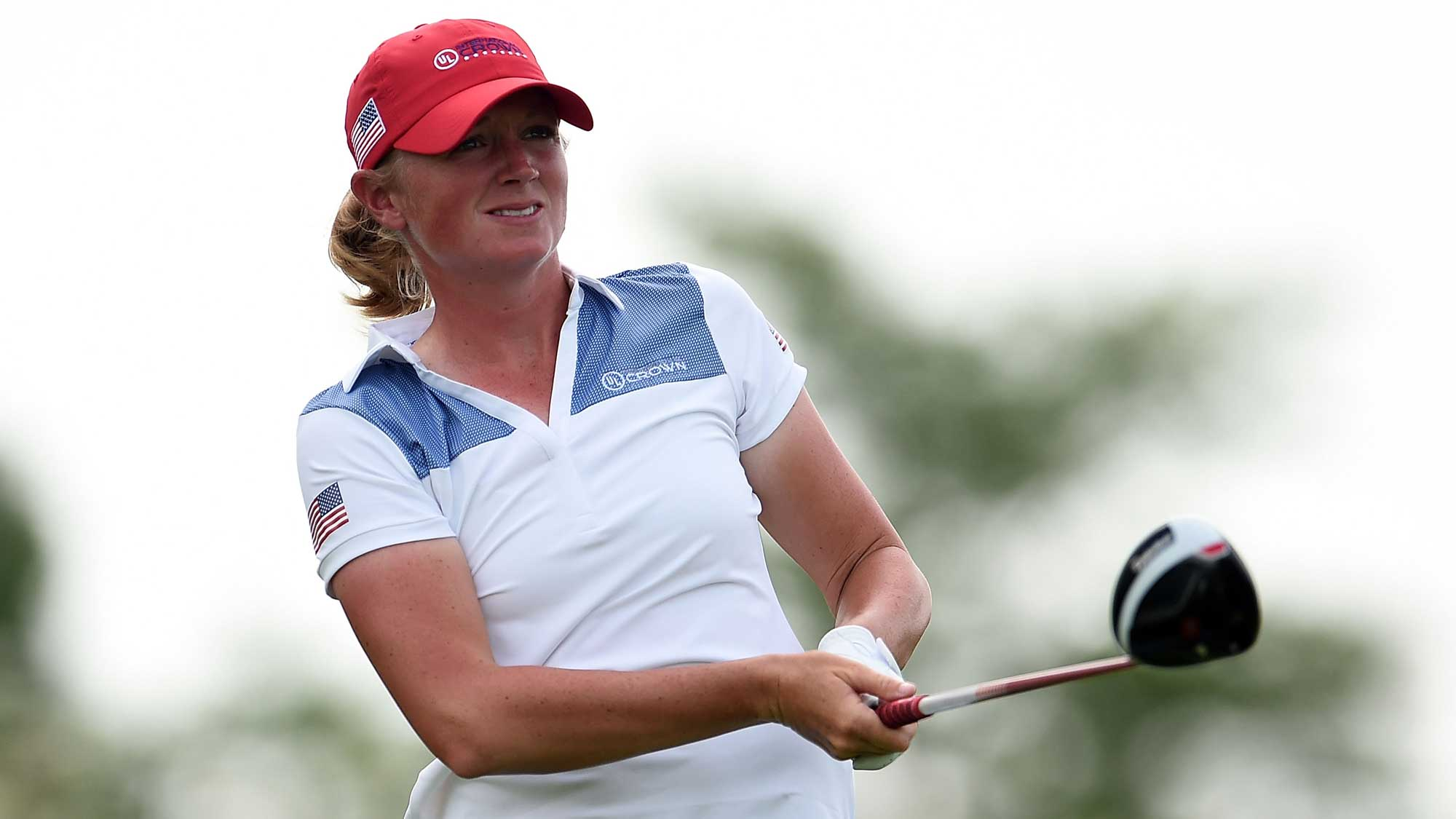 Stacy Lewis of the United States hits her tee shot on the fourth hole during the four-ball session of the 2016 UL International Crown