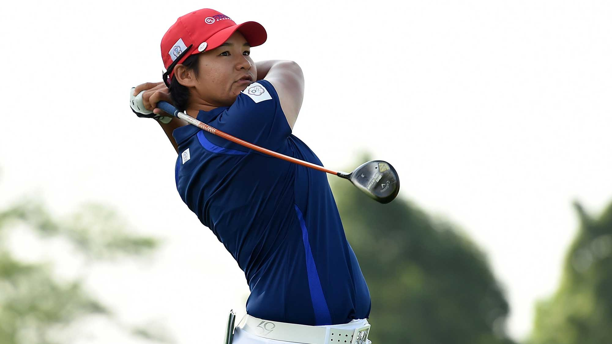Yani Tseng of Chinese Taipei hits her tee shot on the fourth hole during the four-ball session of the 2016 UL International Crown