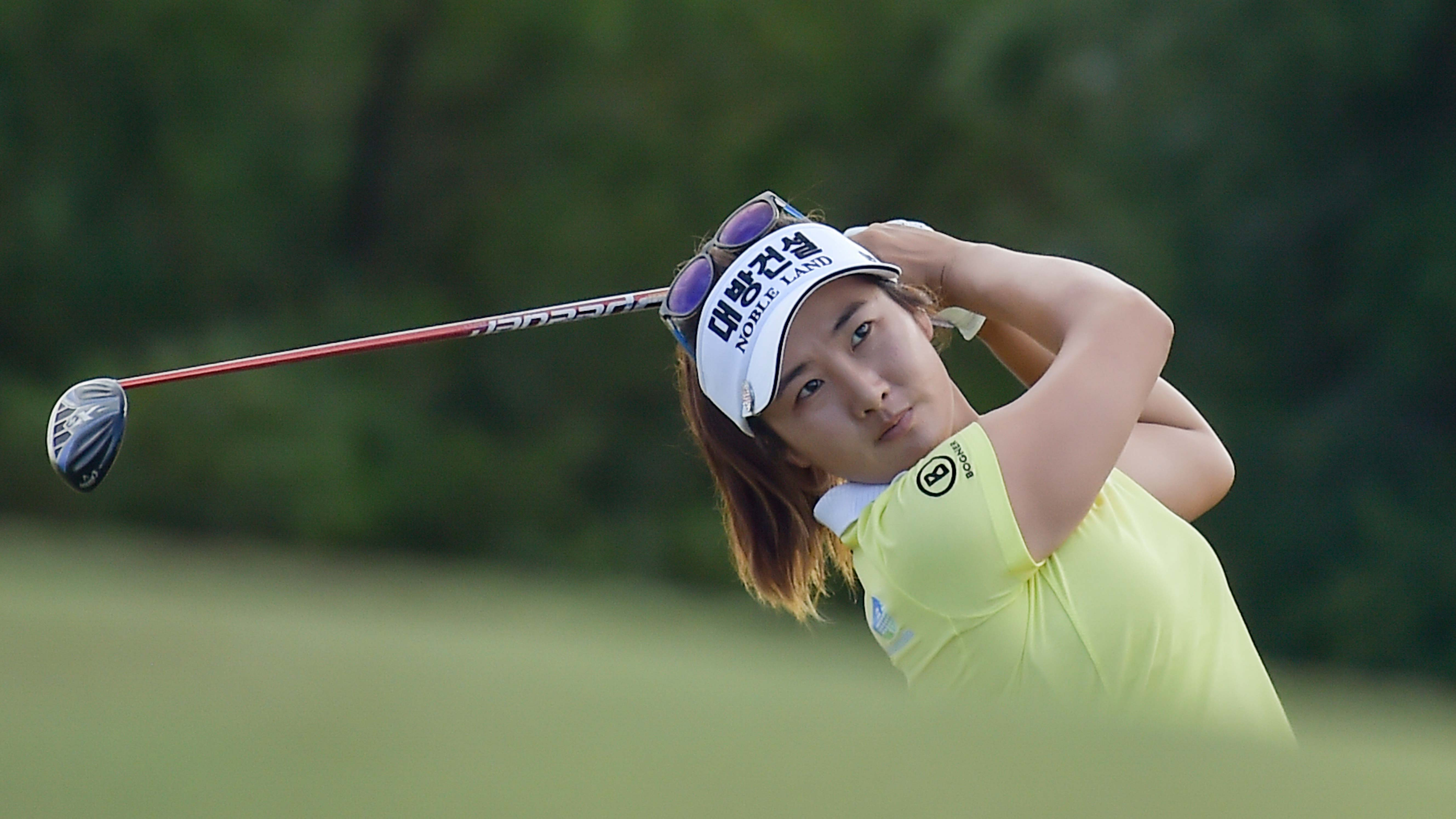 Su Oh hits a shot during the opening round of the ISPS Handa Vic Open in Victoria, Australia