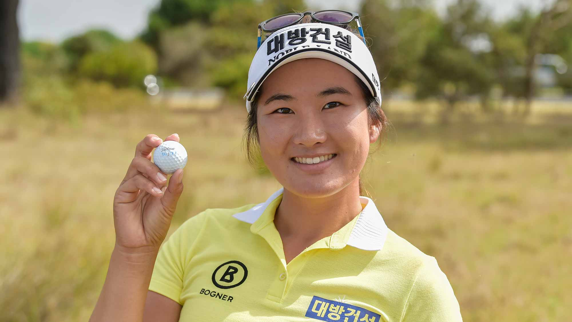 Su Oh of Australia makes an ace at the par 3, 15th hole at 13th Beach Golf Links during the opening round of the ISPS Handa Vic Open on February 07, 2019 in Geelong, Australia