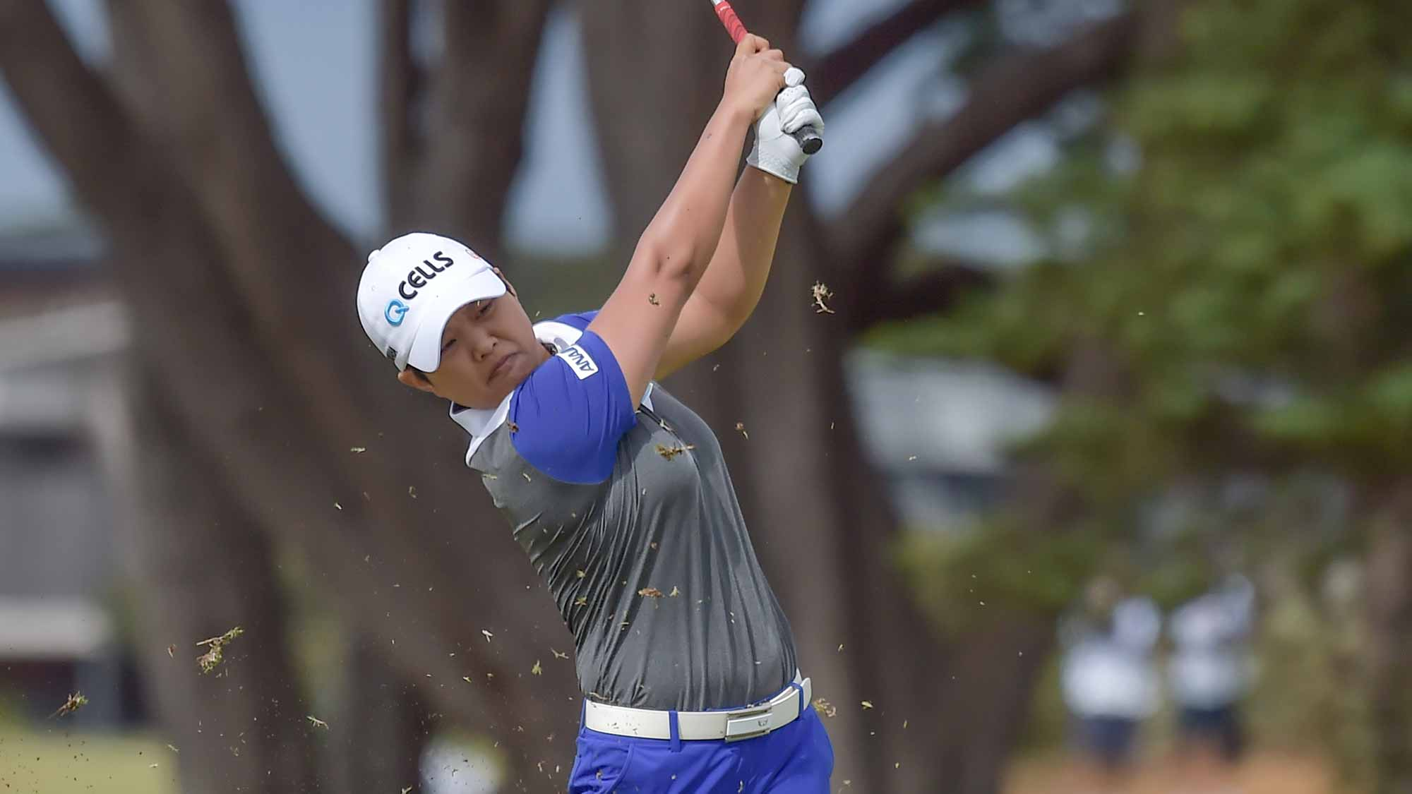 Haru Nomura hits a shot during the second round of the ISPS Handa Vic Open in Geelong, Australia on February 8, 2019