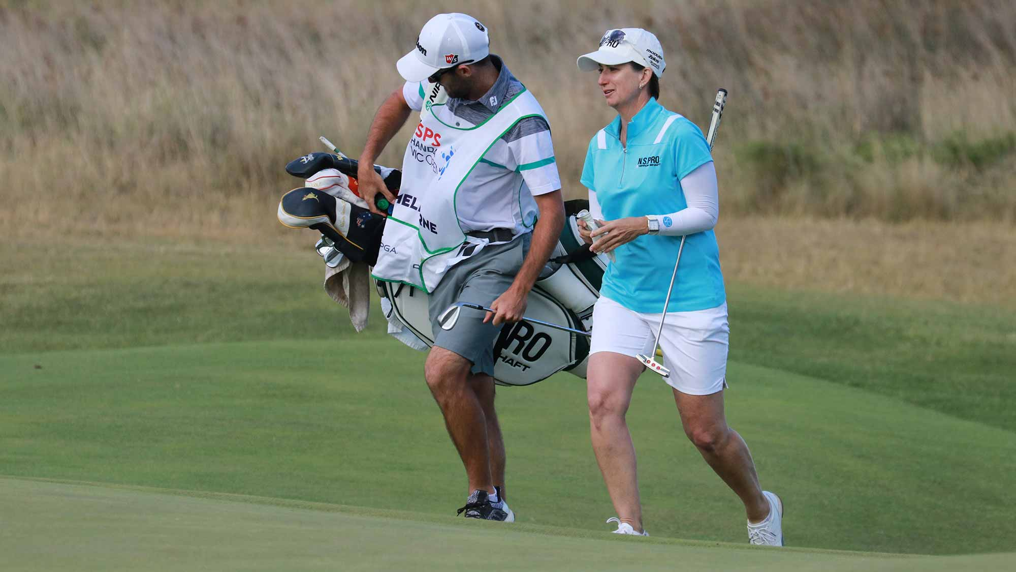 Karrie Webb walks with her caddie during the second round of the ISPS Handa Vic Open in Geelong, Australia on February 8, 2019