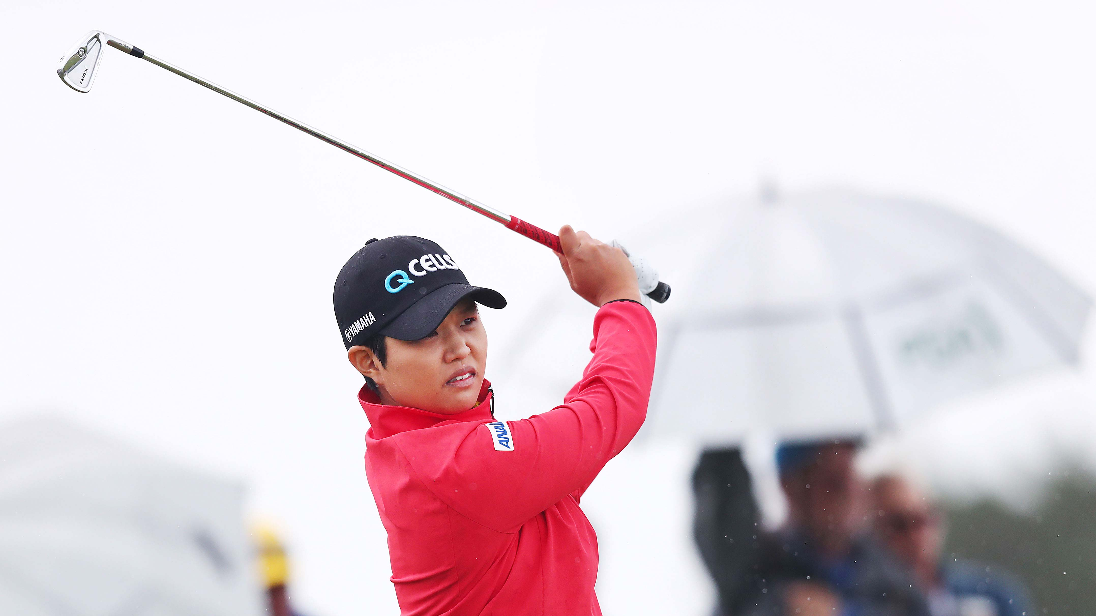 Haru Nomura of Japan hits an approach shot during her round of the ISPS Handa Vic Open at 13th Beach Golf Club on February 09, 2019 in Geelong, Australia