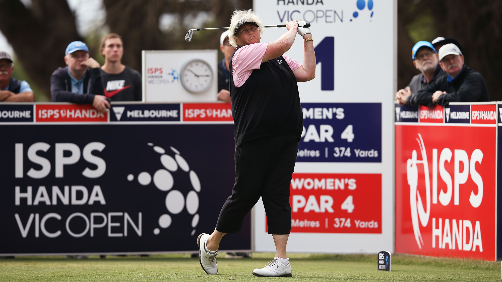 Laura Davies tees off during Round 1 of the ISPS Handa Vic Open