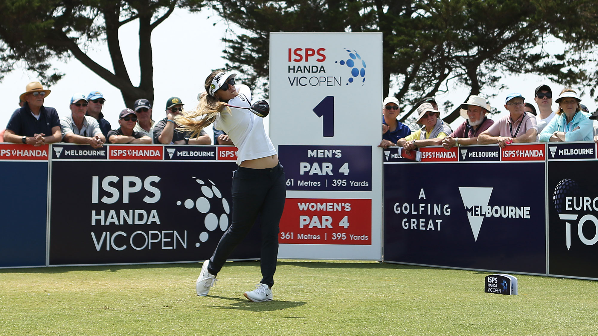 Hannah Green tees off at ISPS Handa Vic Open