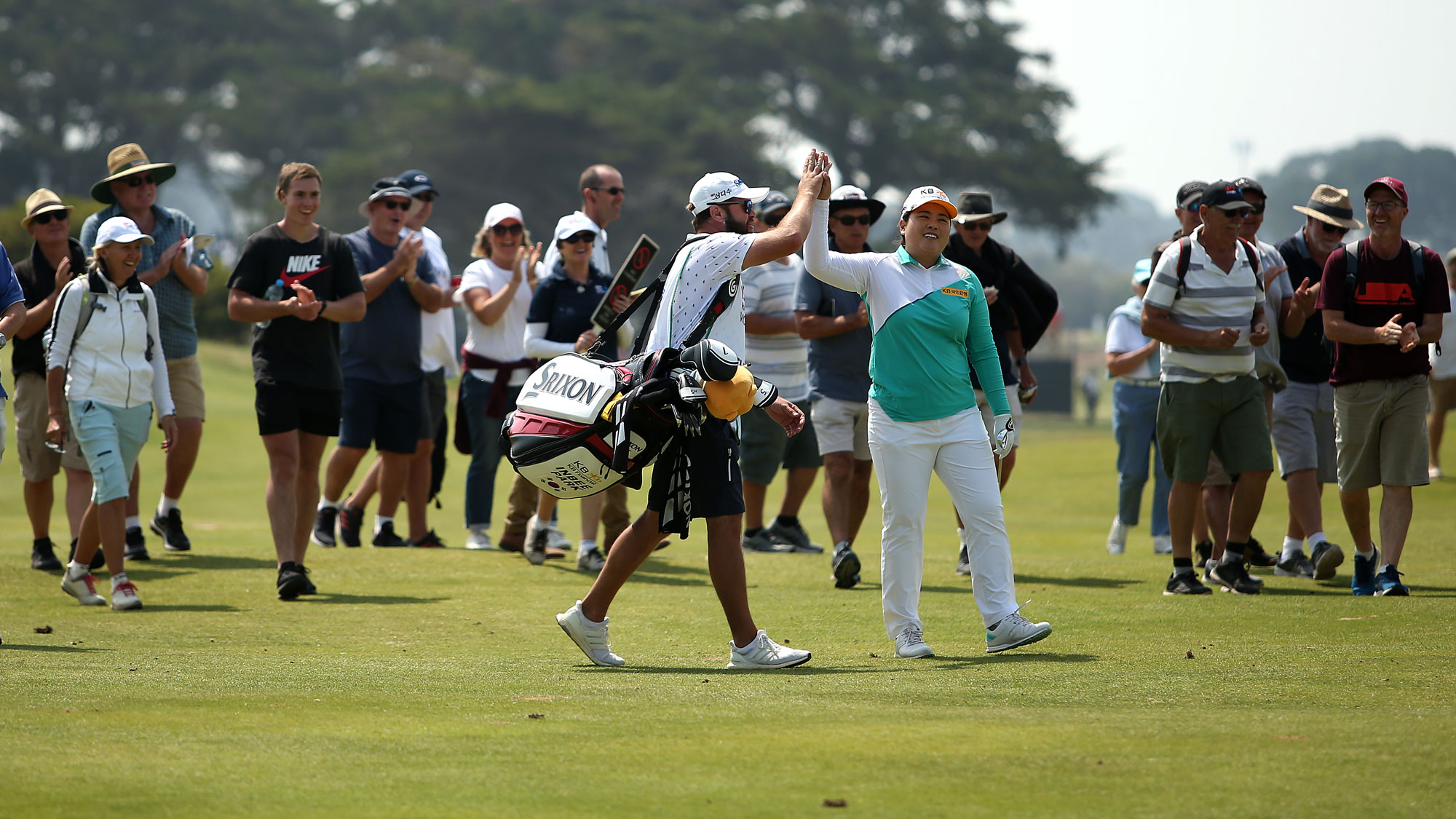 Inbee Park celebrates during Round 1 of ISPS Handa Vic Open