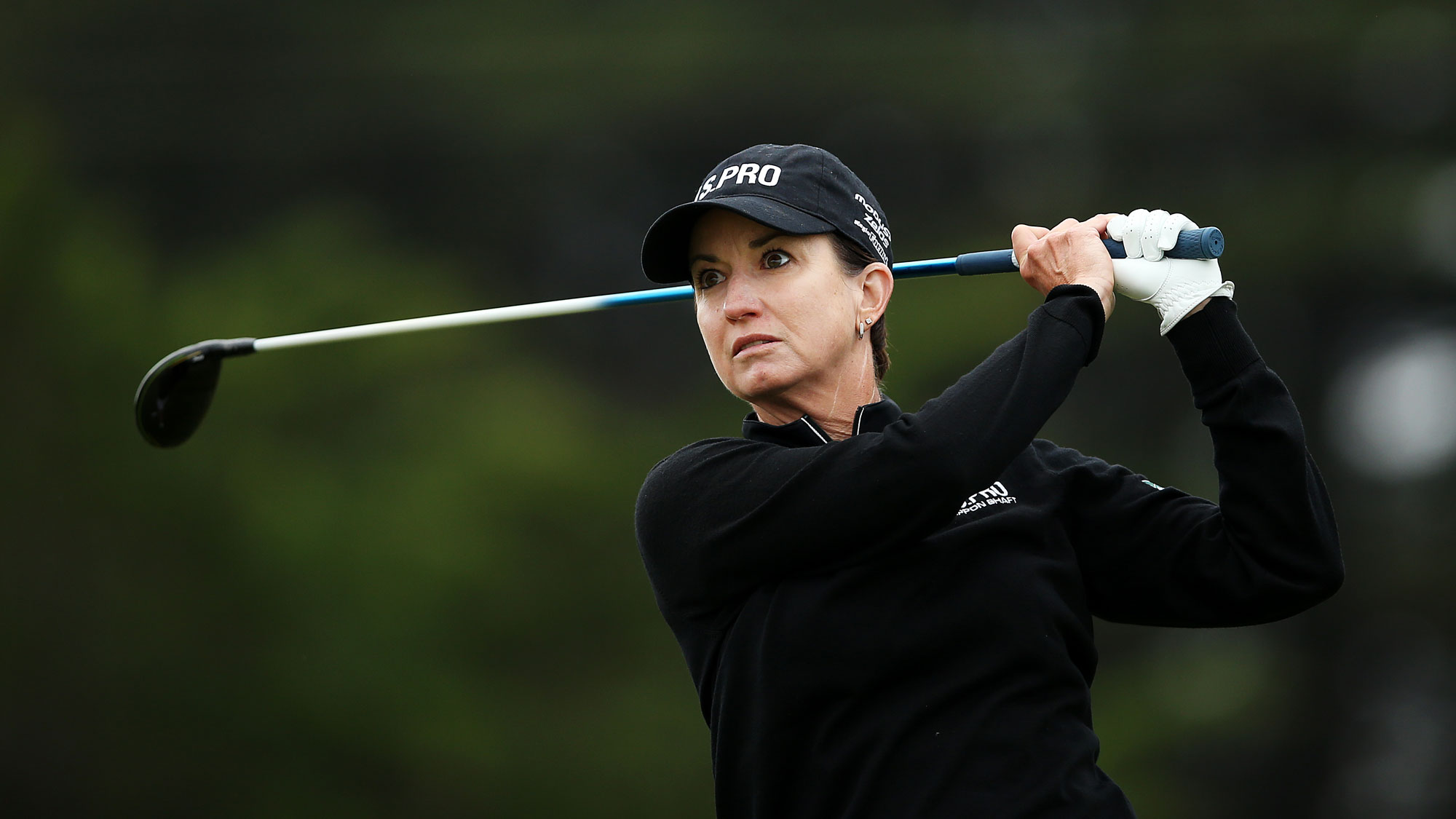 Karrie Webb tees off during Round 1 of the ISPS Handa Vic Open